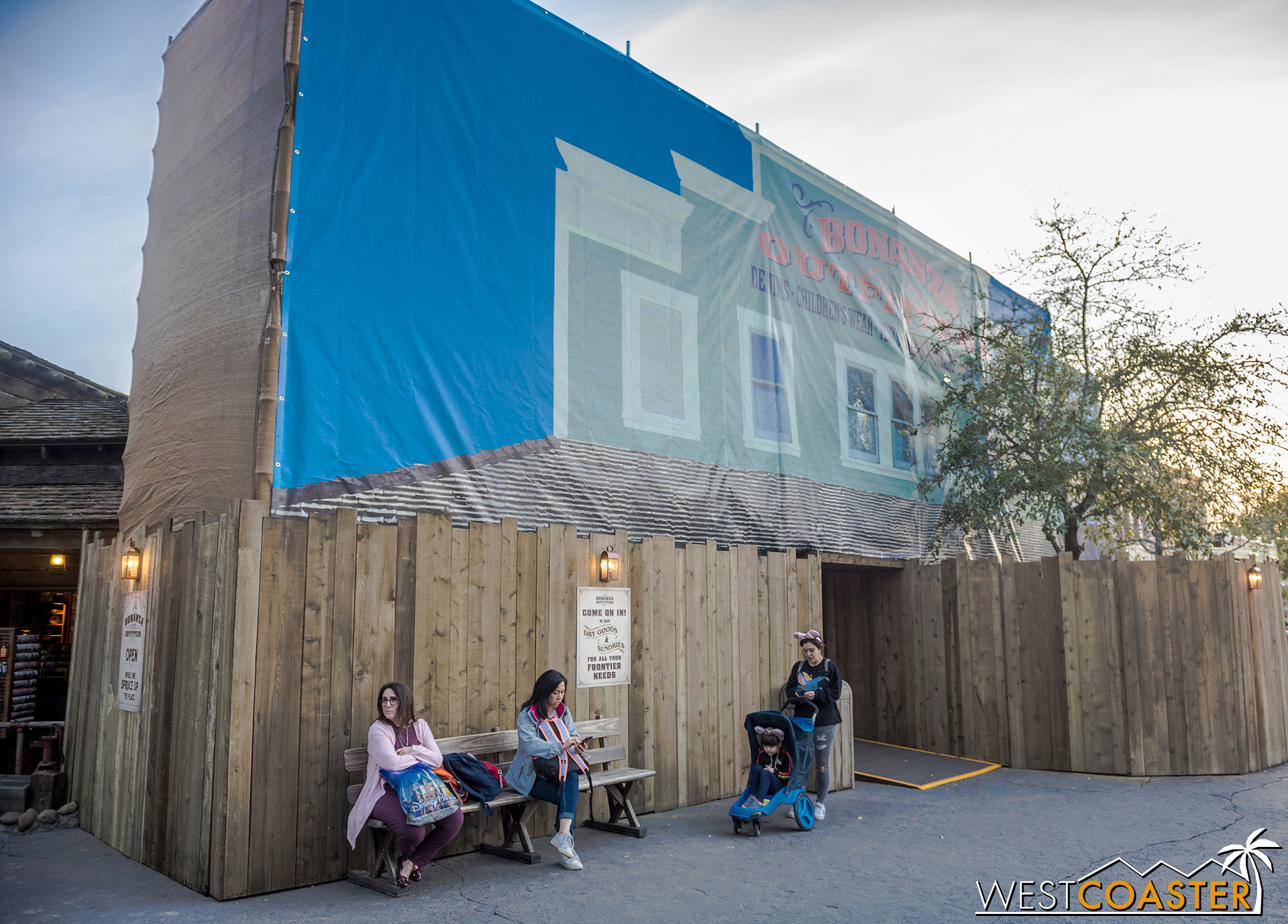 Some of the facades in Frontierland are getting repainted.