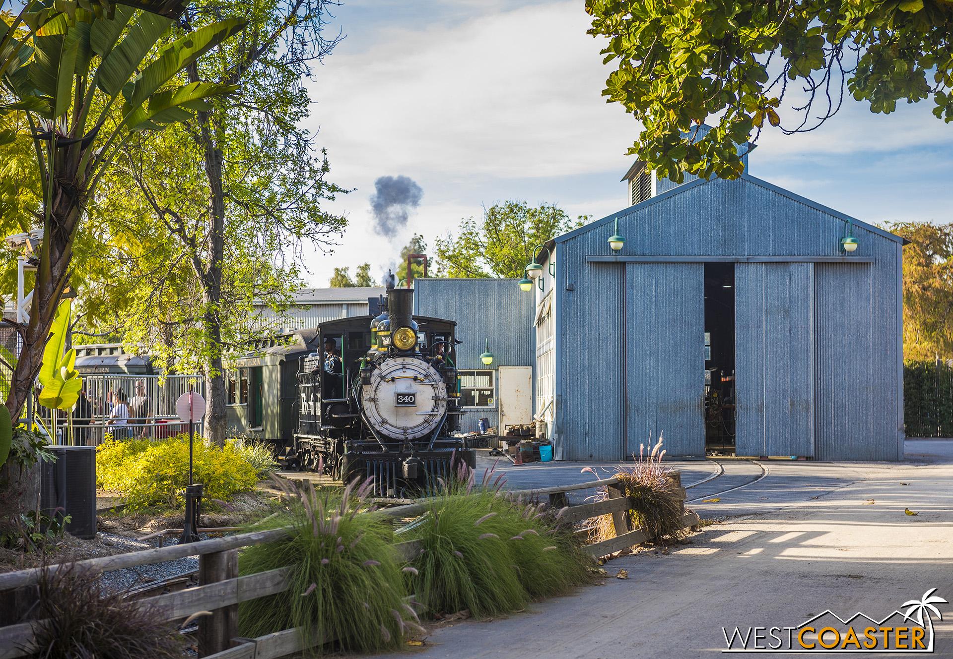 The Calico Railroad train chugs around the corner of Supreme Scream.
