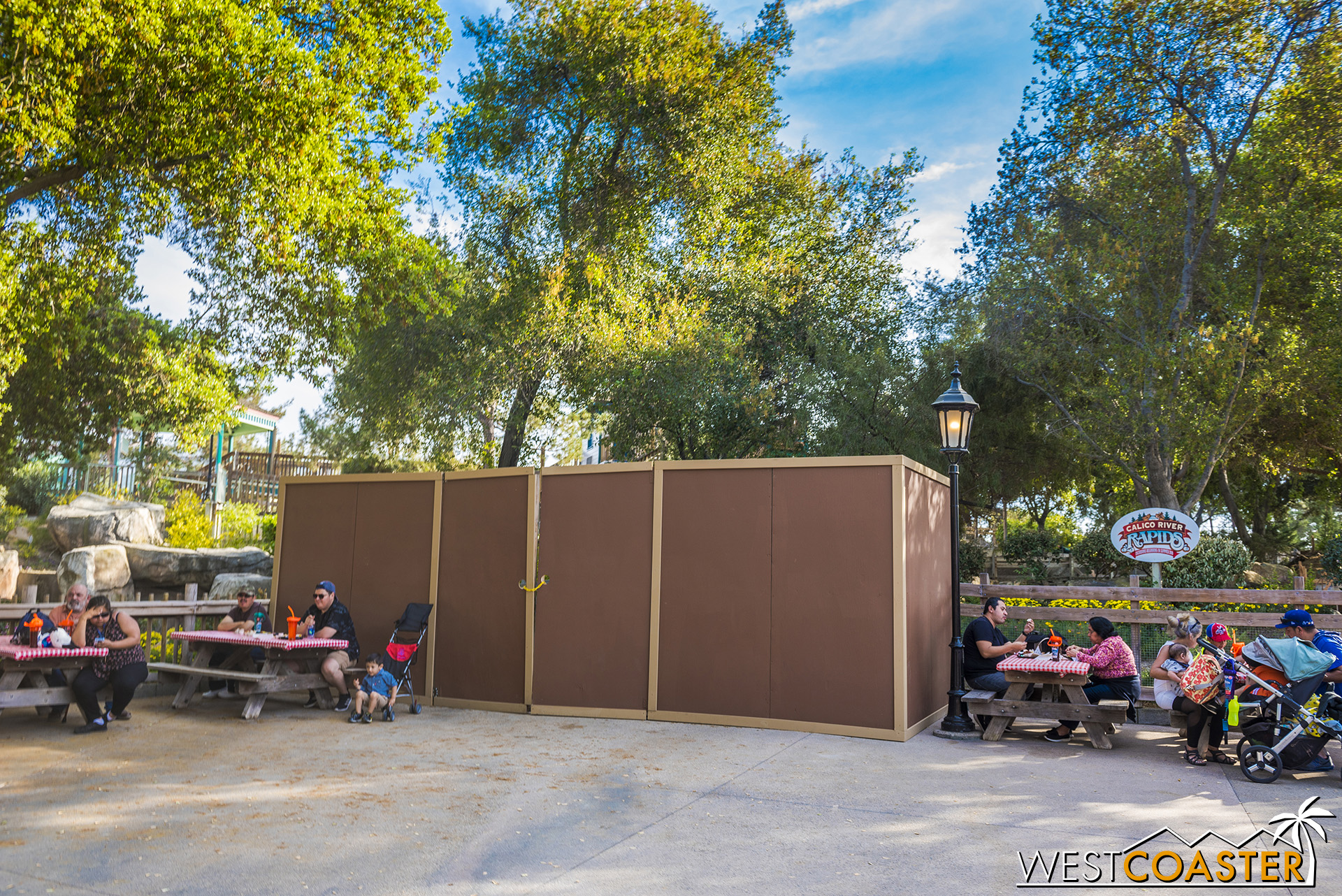 Work walls are up at the future Calico River Rapids!