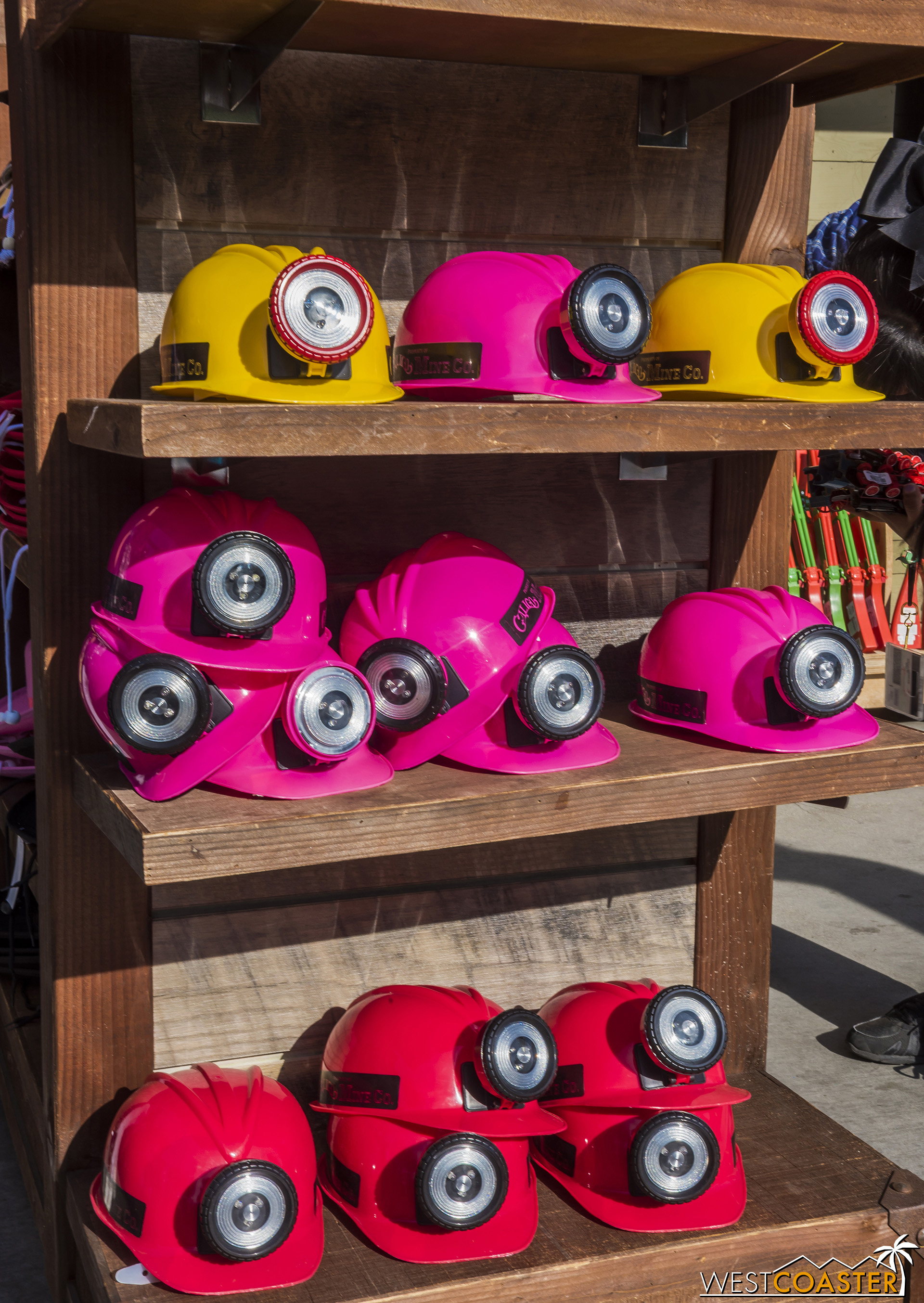 Not really festival merch, but these colorful miner's hats are kind of absurd.