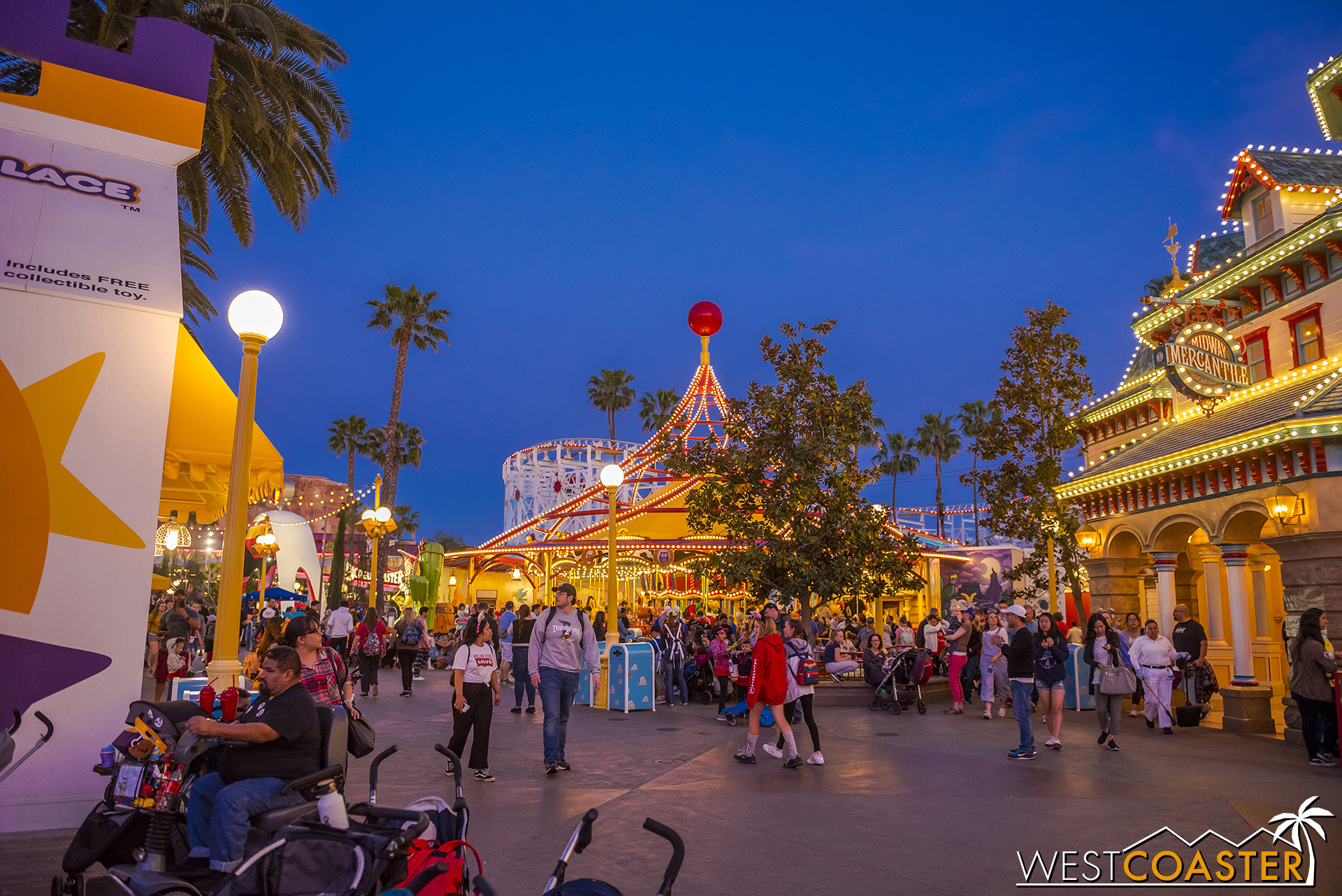 """I do wish the Carousel theming would blend in better with the other aesthetics present in or around any particular area.  But Pixar Pier is """"synergy"""" by various designs.  I just don't think it quite works from this overview."""
