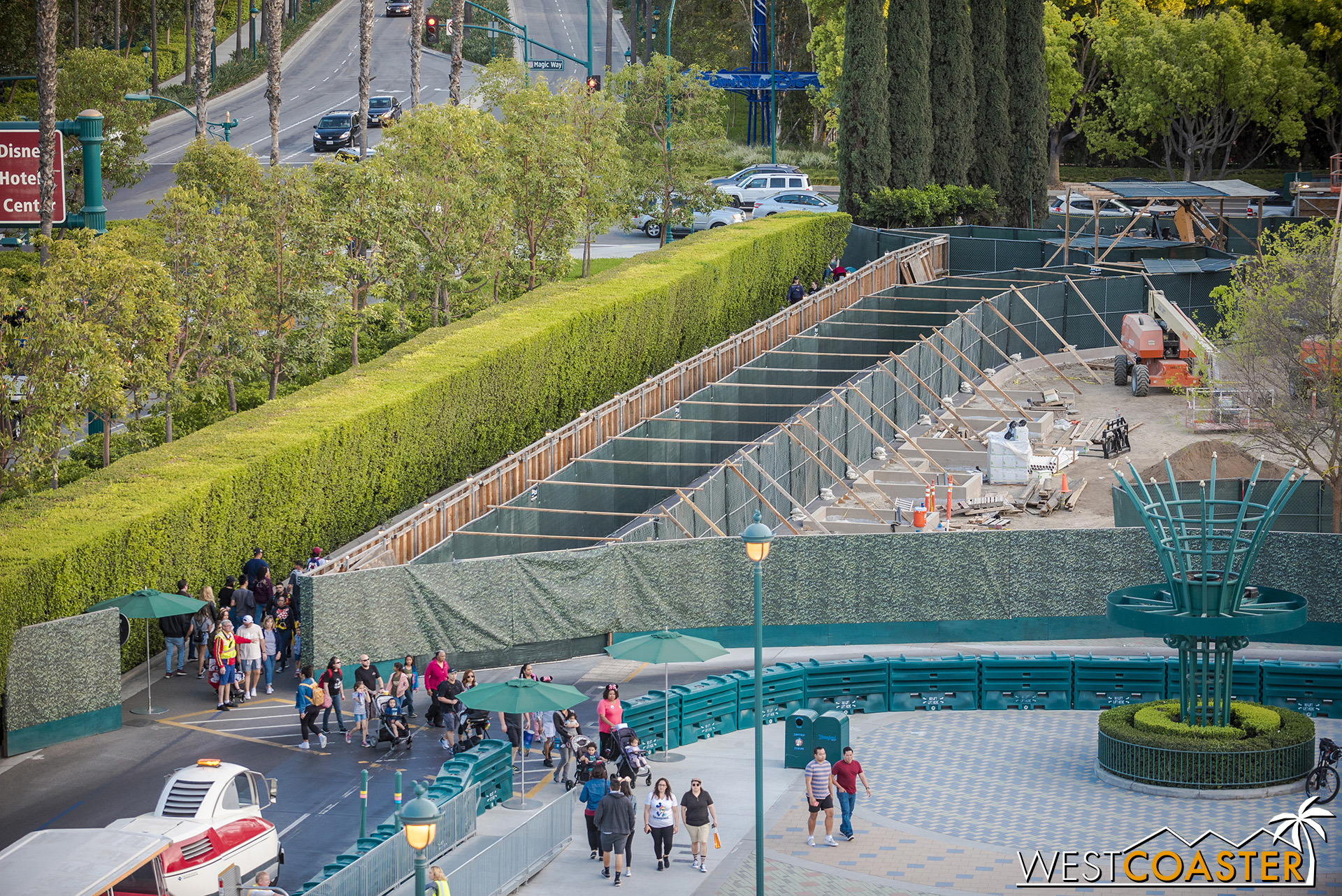 They've started working on the tram route pavement and some of the landscaping necessary.
