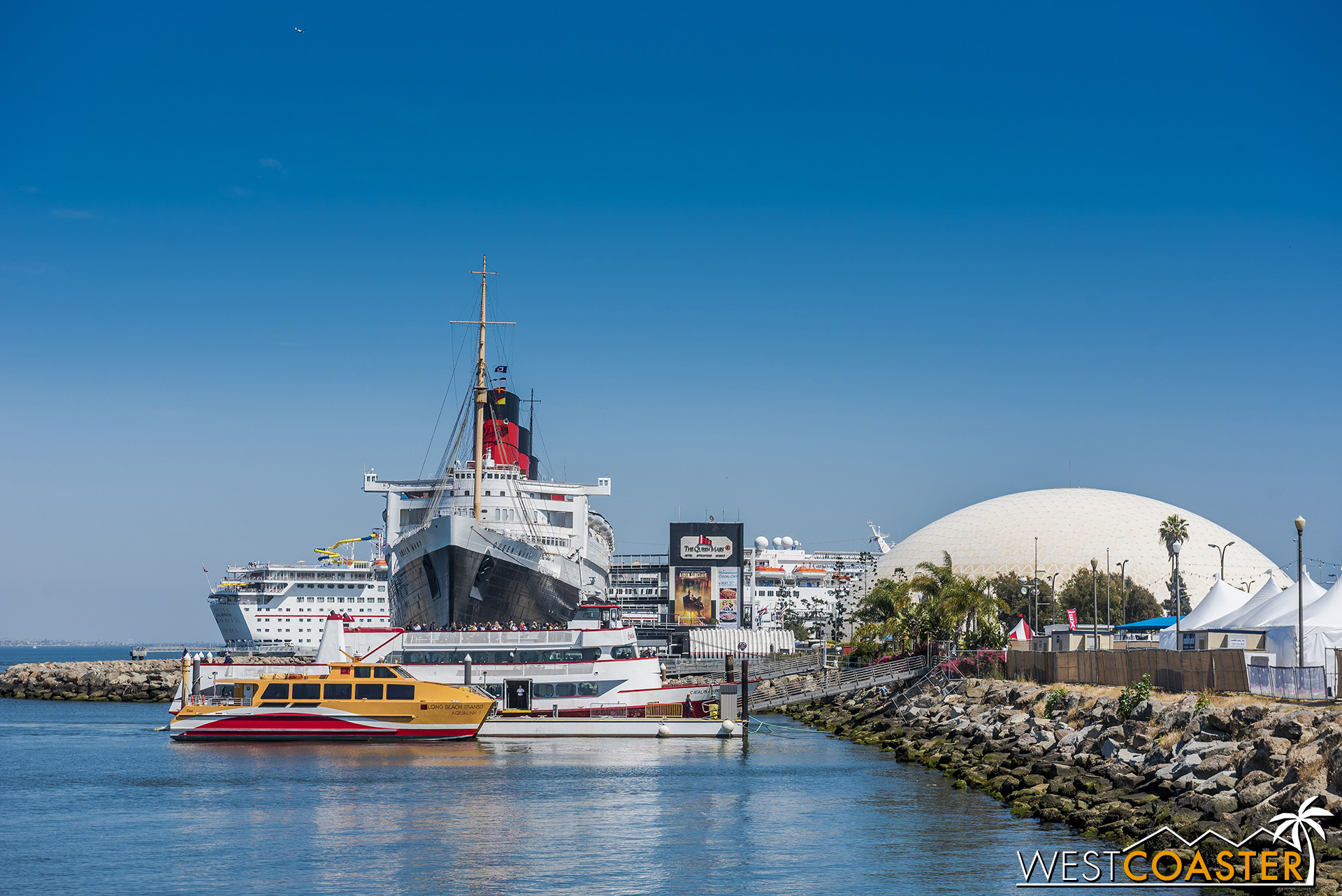 The iconic Queen Mary, docked in its Long Beach home of more than fifty years.
