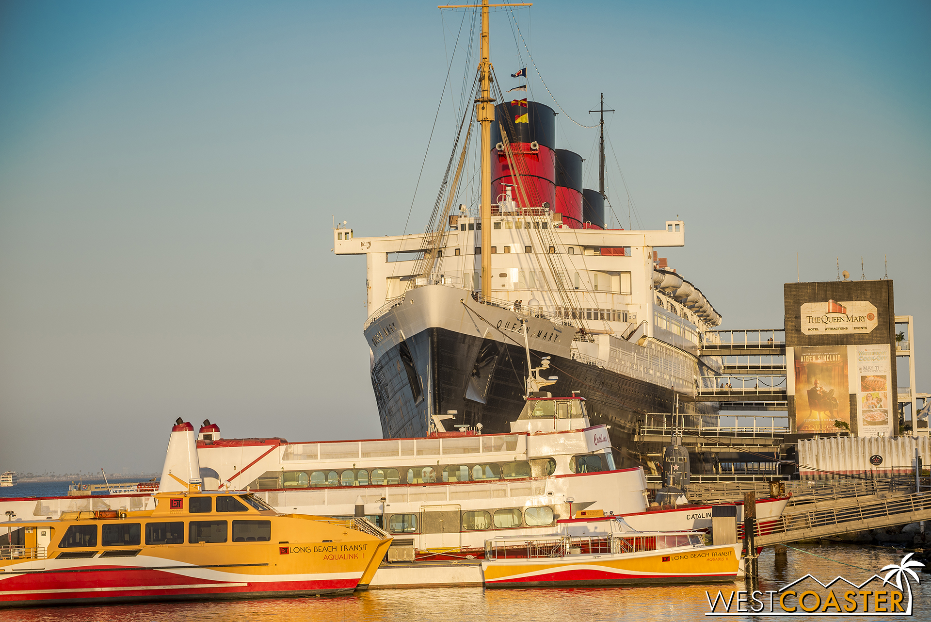 The Queen Mary, docked in Long Beach harbor.