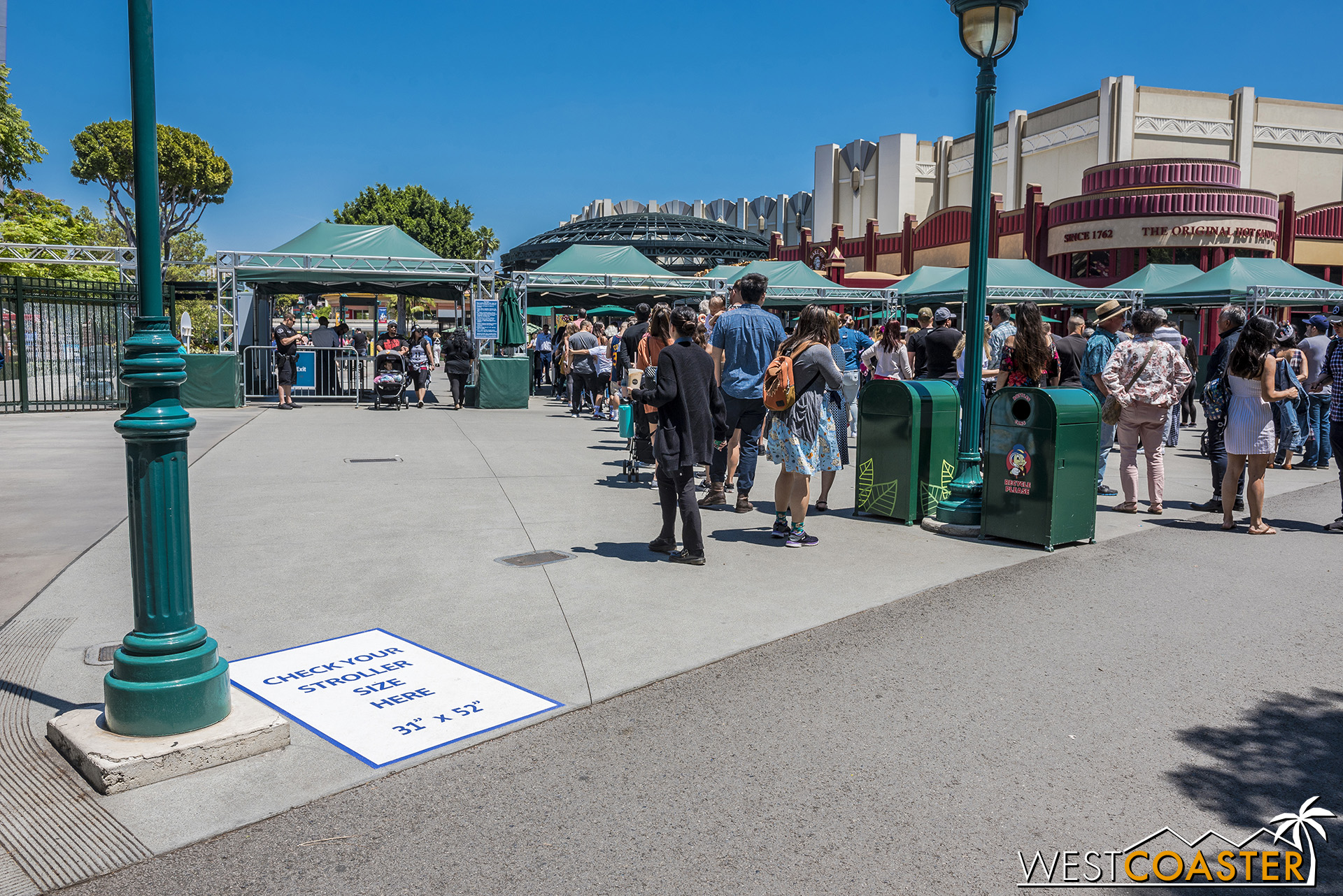 The stroller check spaces are present at the Downtown Disney security entry points too.