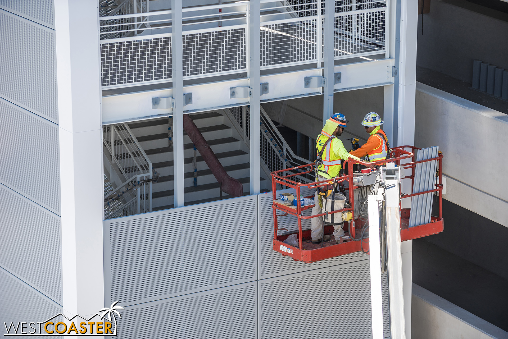 Crews were working on installing perforated screens, though!