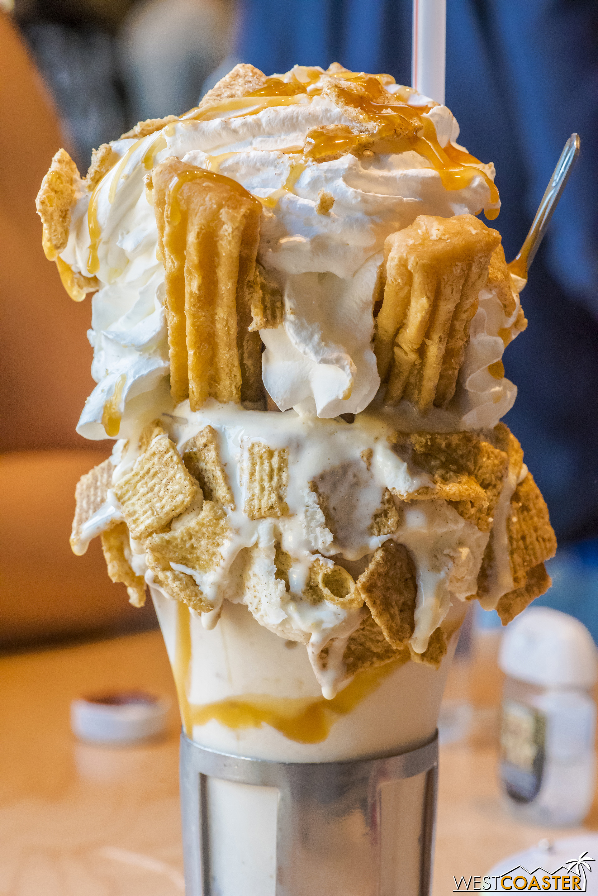 Here's the Churro Choco Taco Crazy Shake, which features the Choco Taco ice cream treat, two curros, creme de leche, whipped cream, and ice cream, and of course, diabetes.