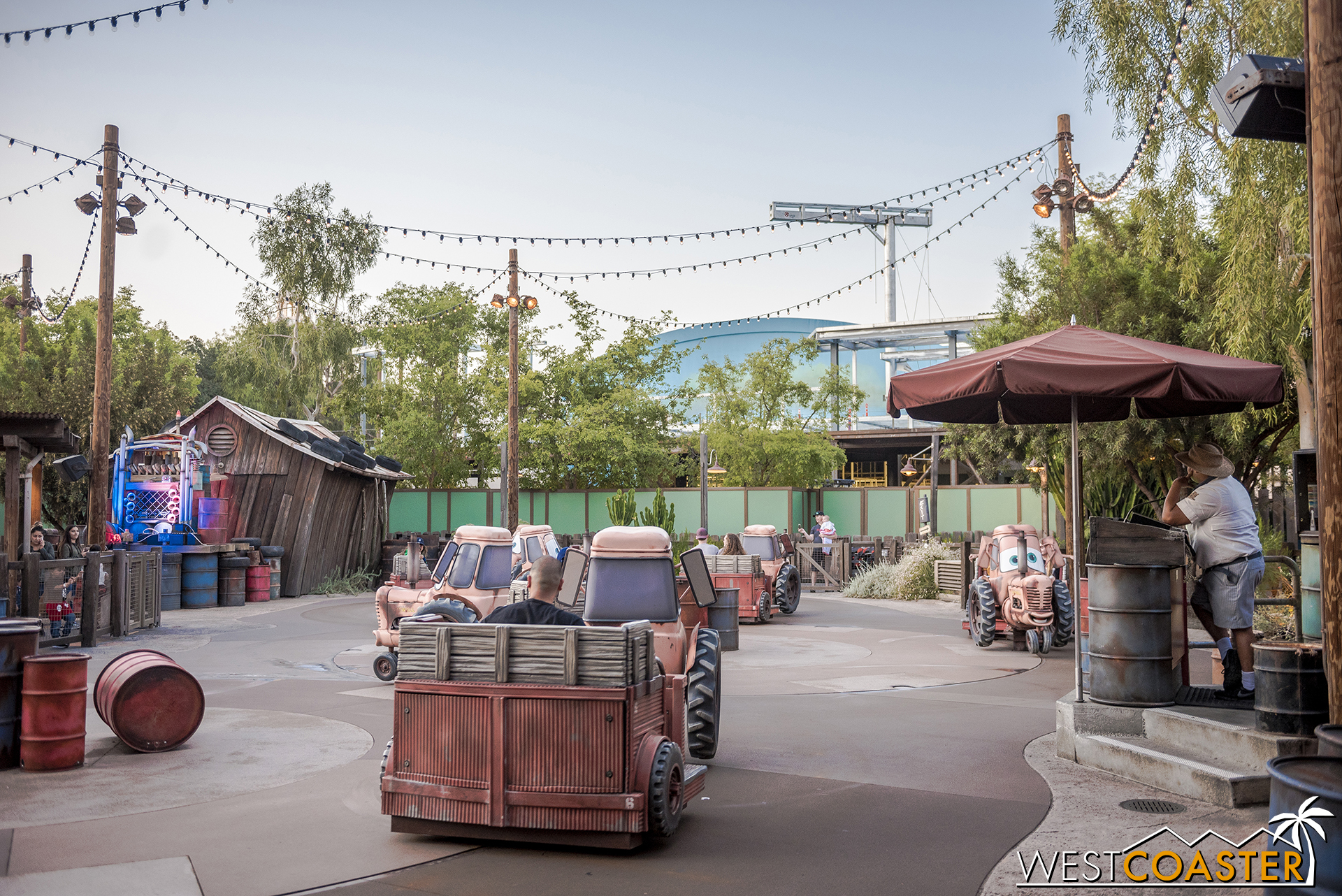 It's pretty visible from next door Cars Land.  I'm interested in how they deal with land sightlines and transitions.