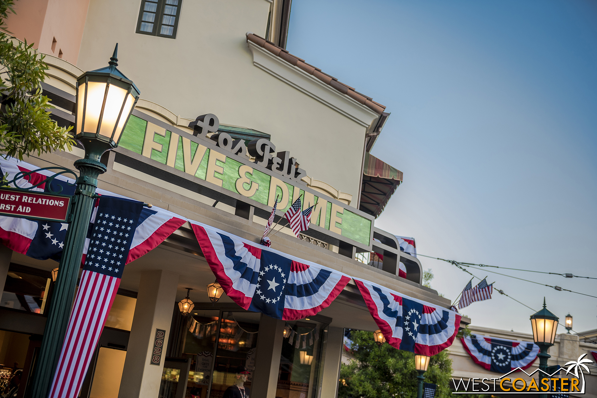 New patriotic decorations at Buena Vista Street this weekend.