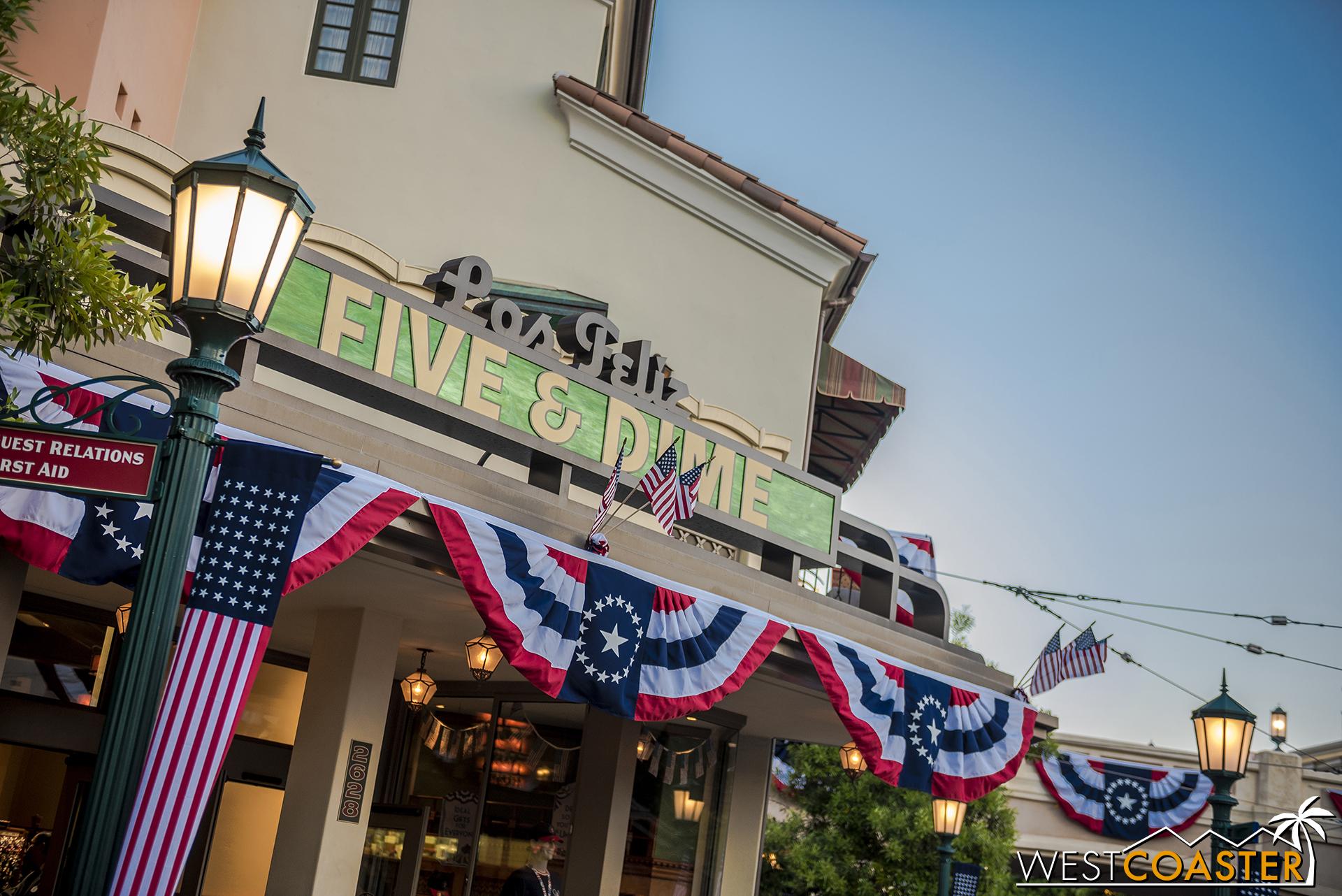 New patriotic decorations at Buena Vista Street this weekend.