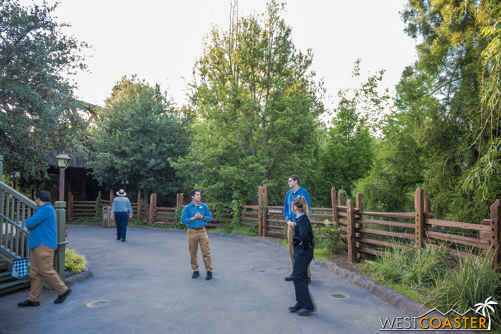 I was asked to not take pictures through the portal into Galaxy's Edge on the Critter Country entrance, because I'd be able to see some foliage and pole lights within.  To be respectful, I complied.