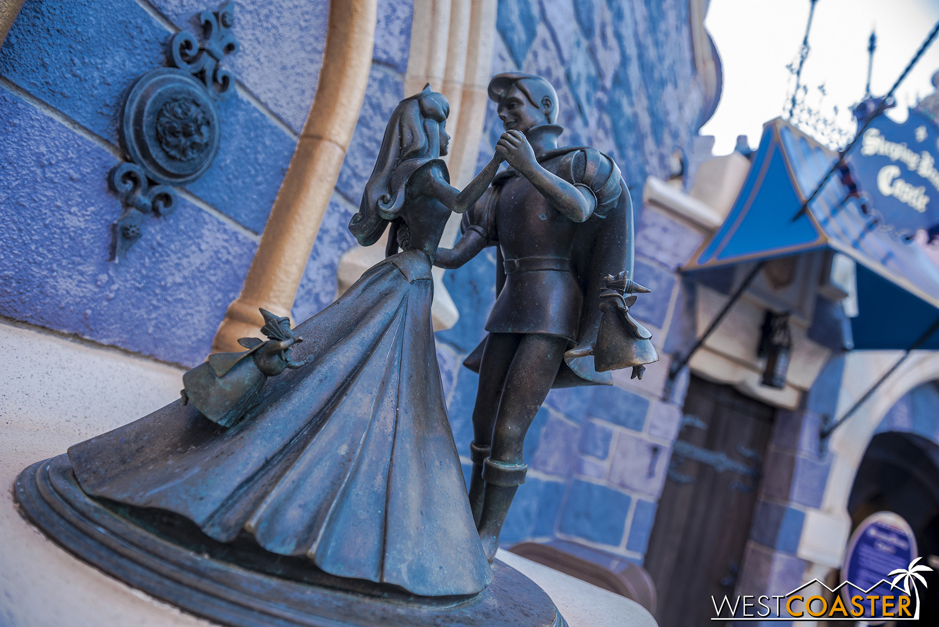 The Sleeping Beauty statue is also back.