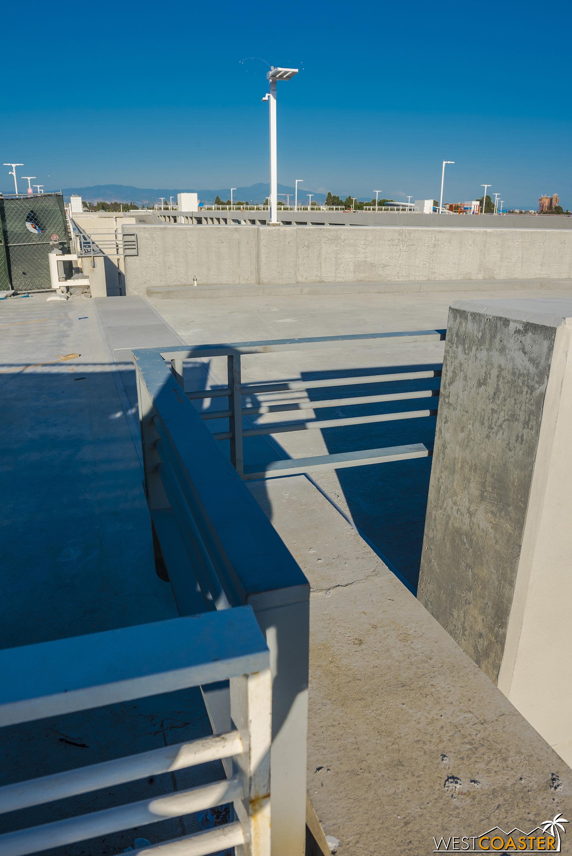 The guardrails shield the gap between concrete.