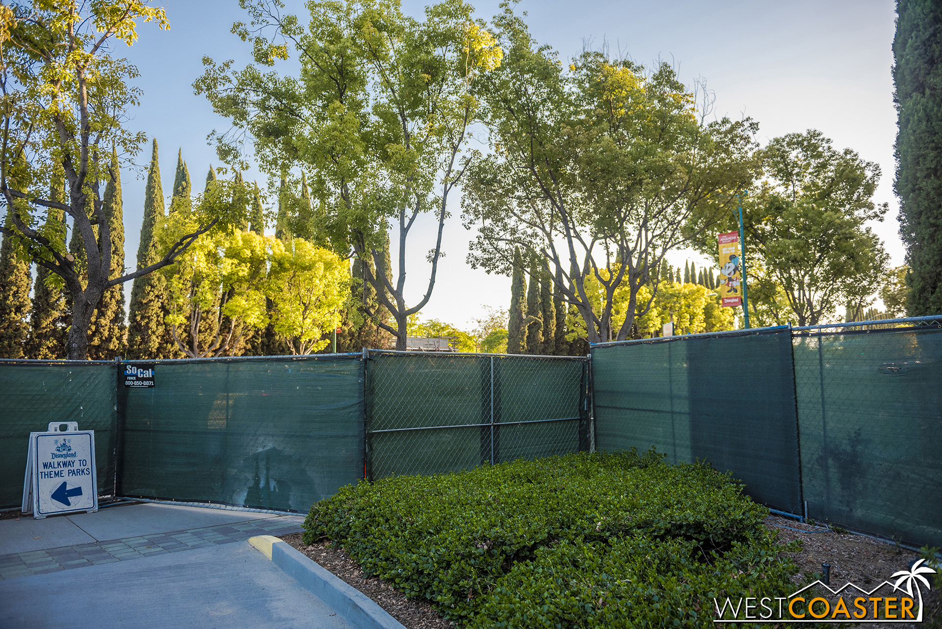 The walking path to Downtown Disney has been re-routed across Magic Way now.