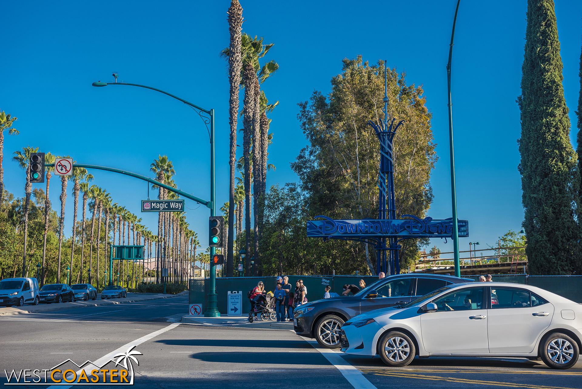 Guests must cross Magic Way at Disneyland Drive.