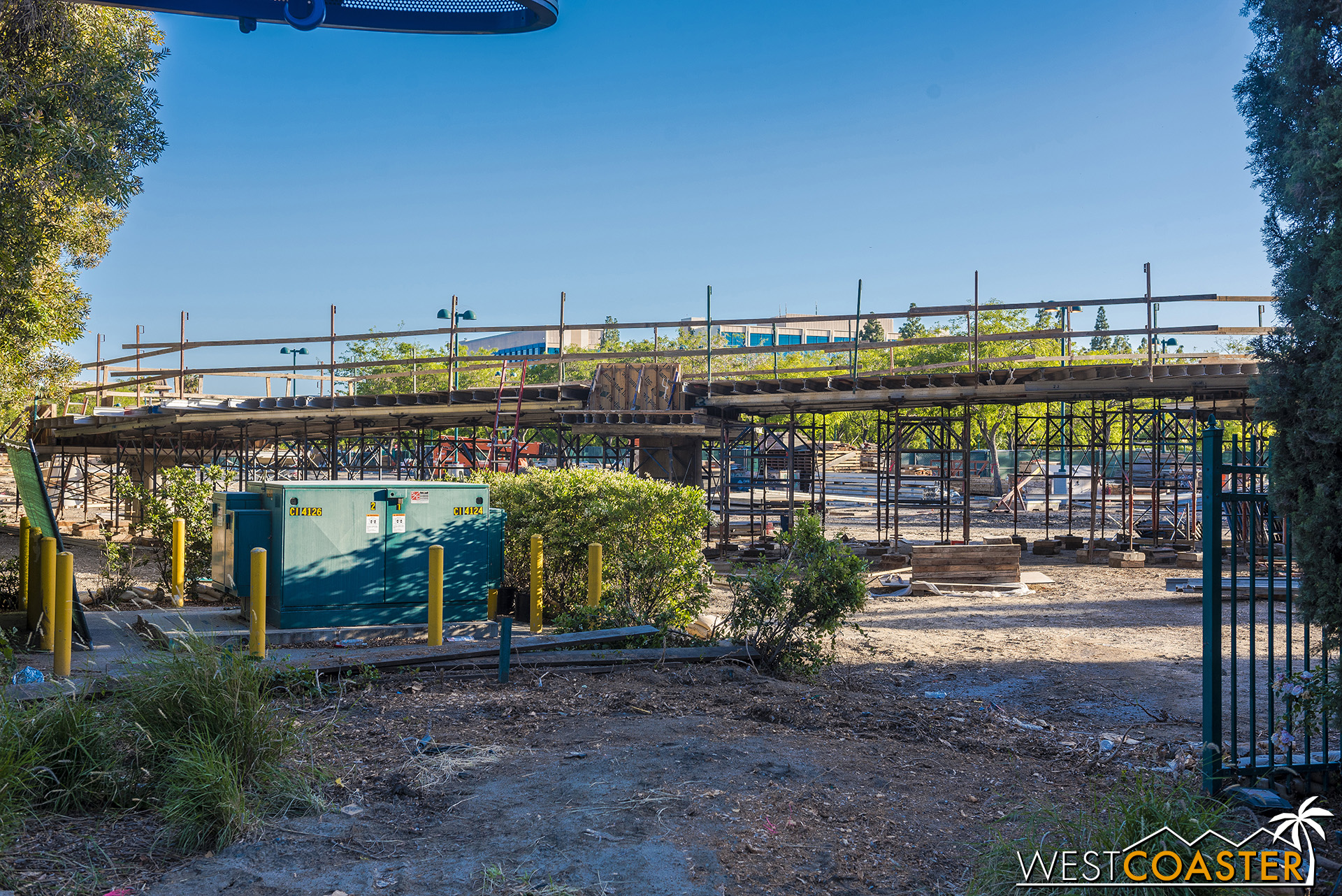 On the Downtown Disney side, a ramp down to the ground from the bridge is starting up now.