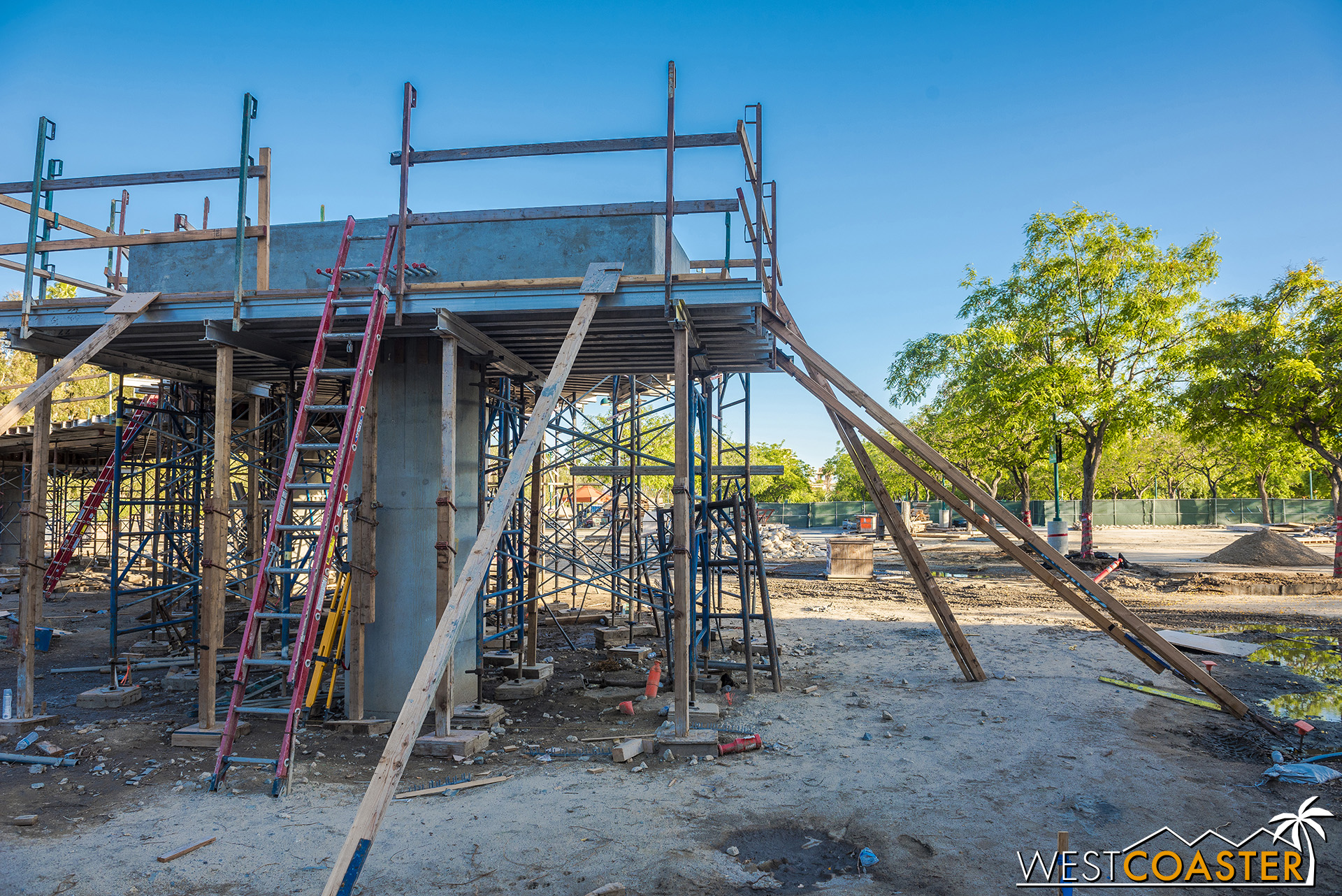 Everything else is formwork to cast the concrete that will turn and gently slope to the ground.