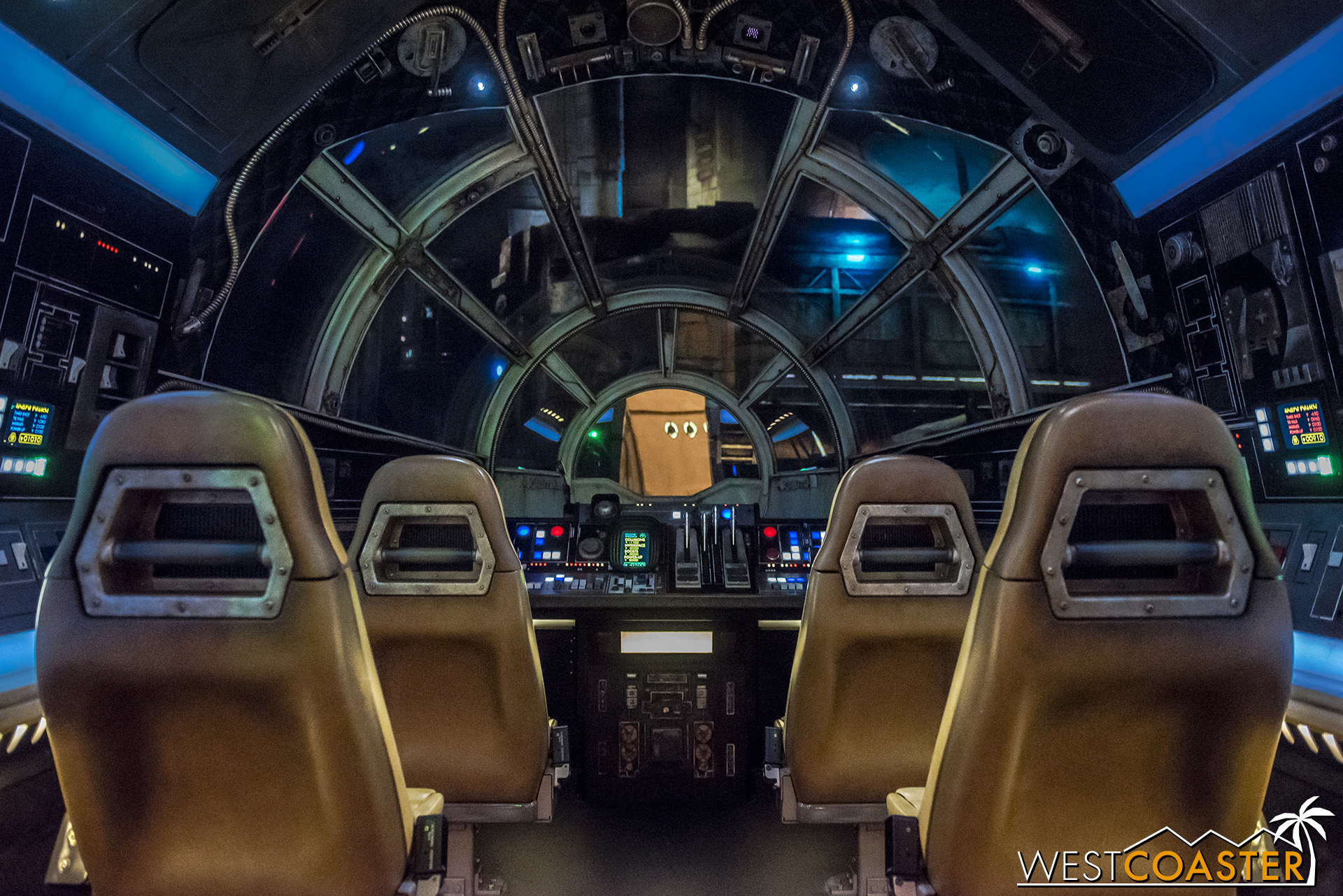 Entering the cockpit of the Millennium Falcon.