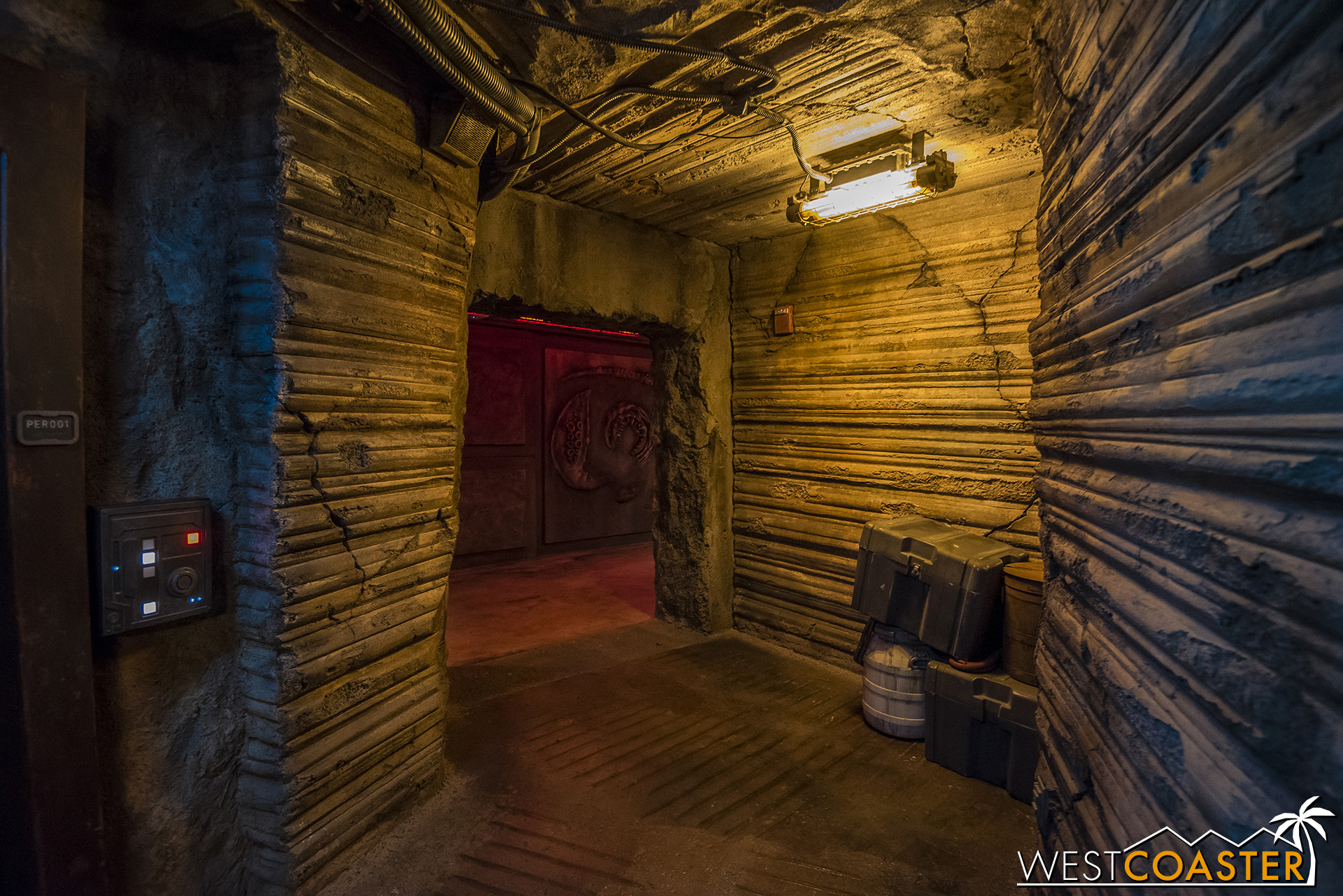 This is an exit corridor.  The ride is already over, but the theming never is!