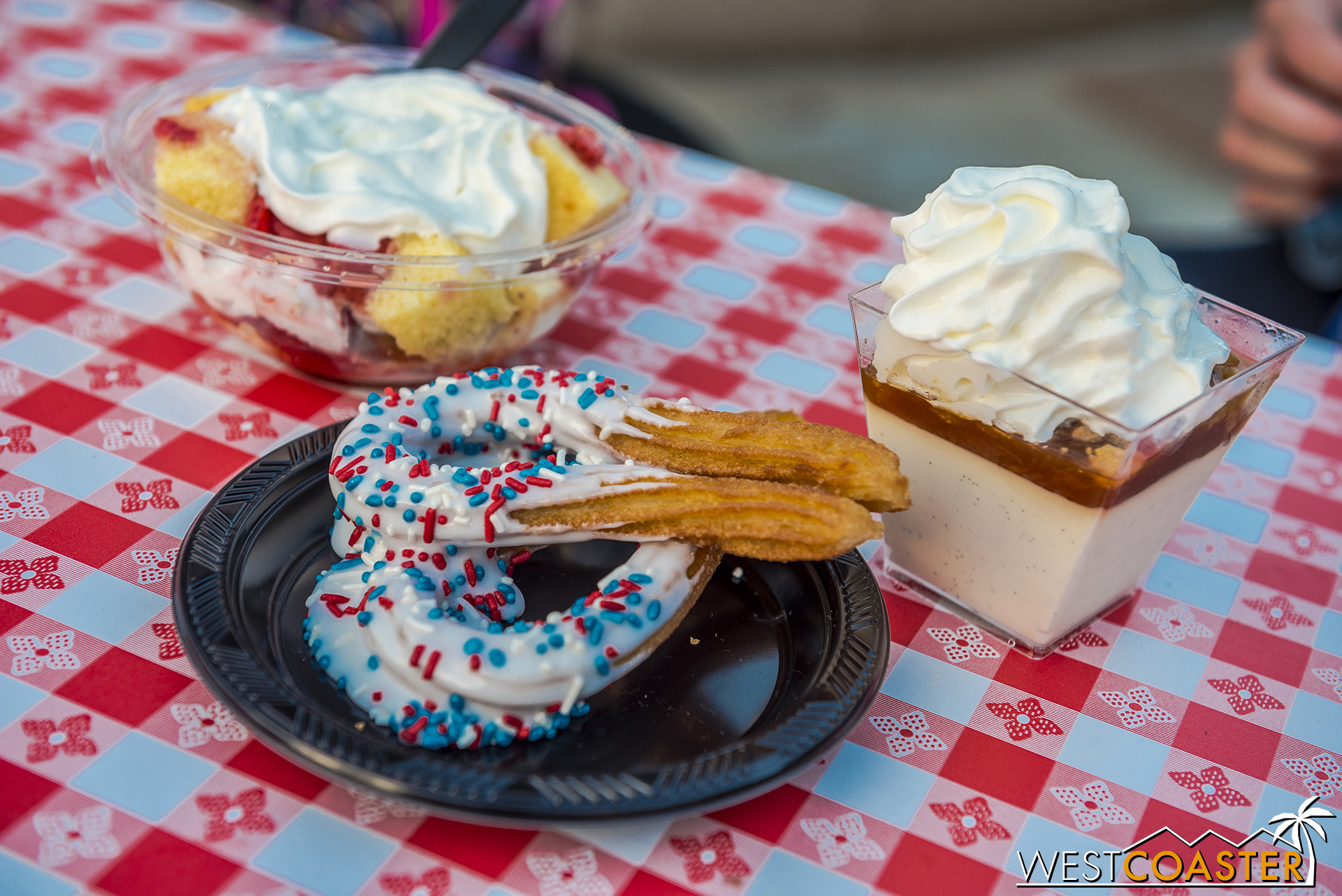 Dipped churros, strawberry shortcake, and peach cobbler.  None of them anything to write home about, unfortunately.  All overly sweet.