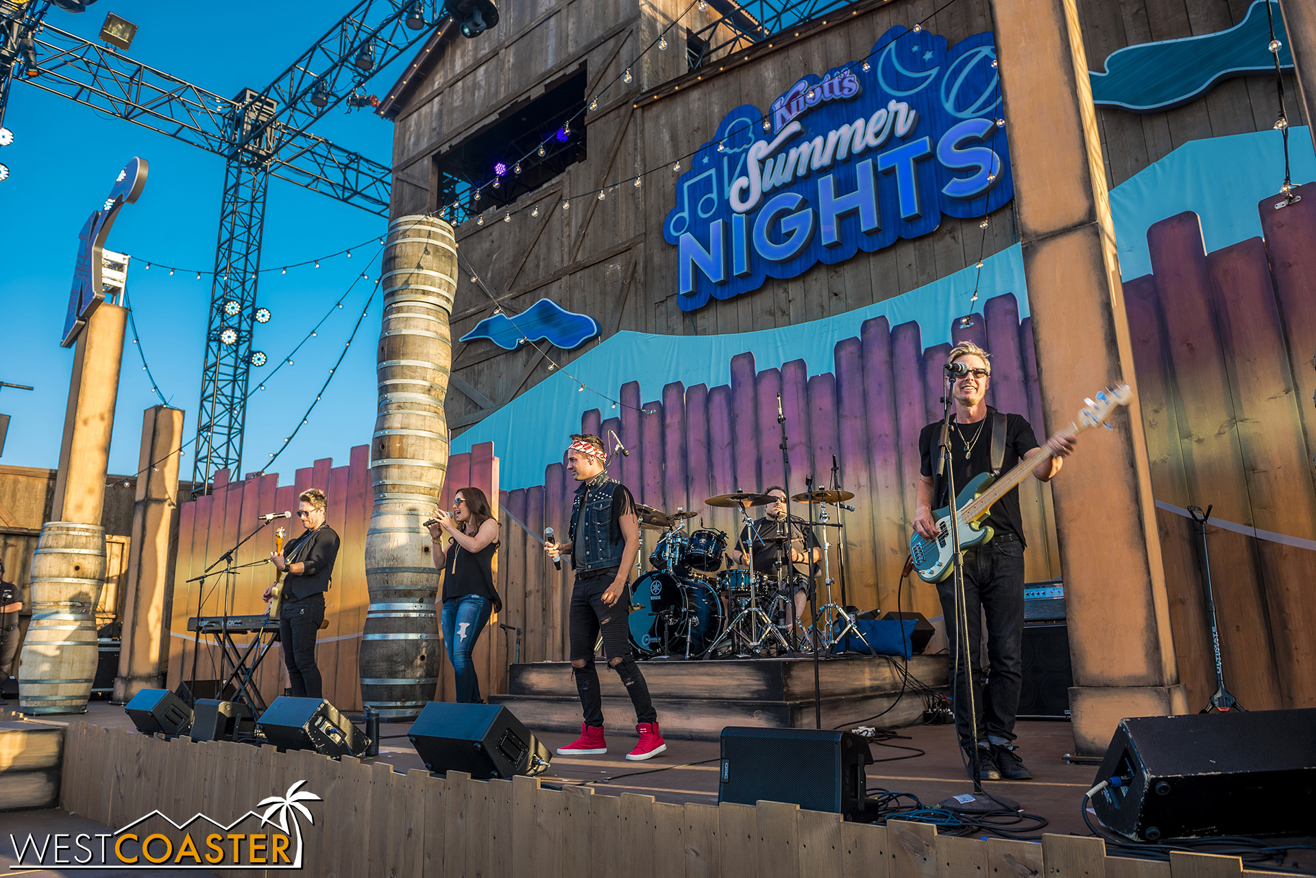 Cover band, Hiatus, play the Calico Stage at Knott's Summer Nights.