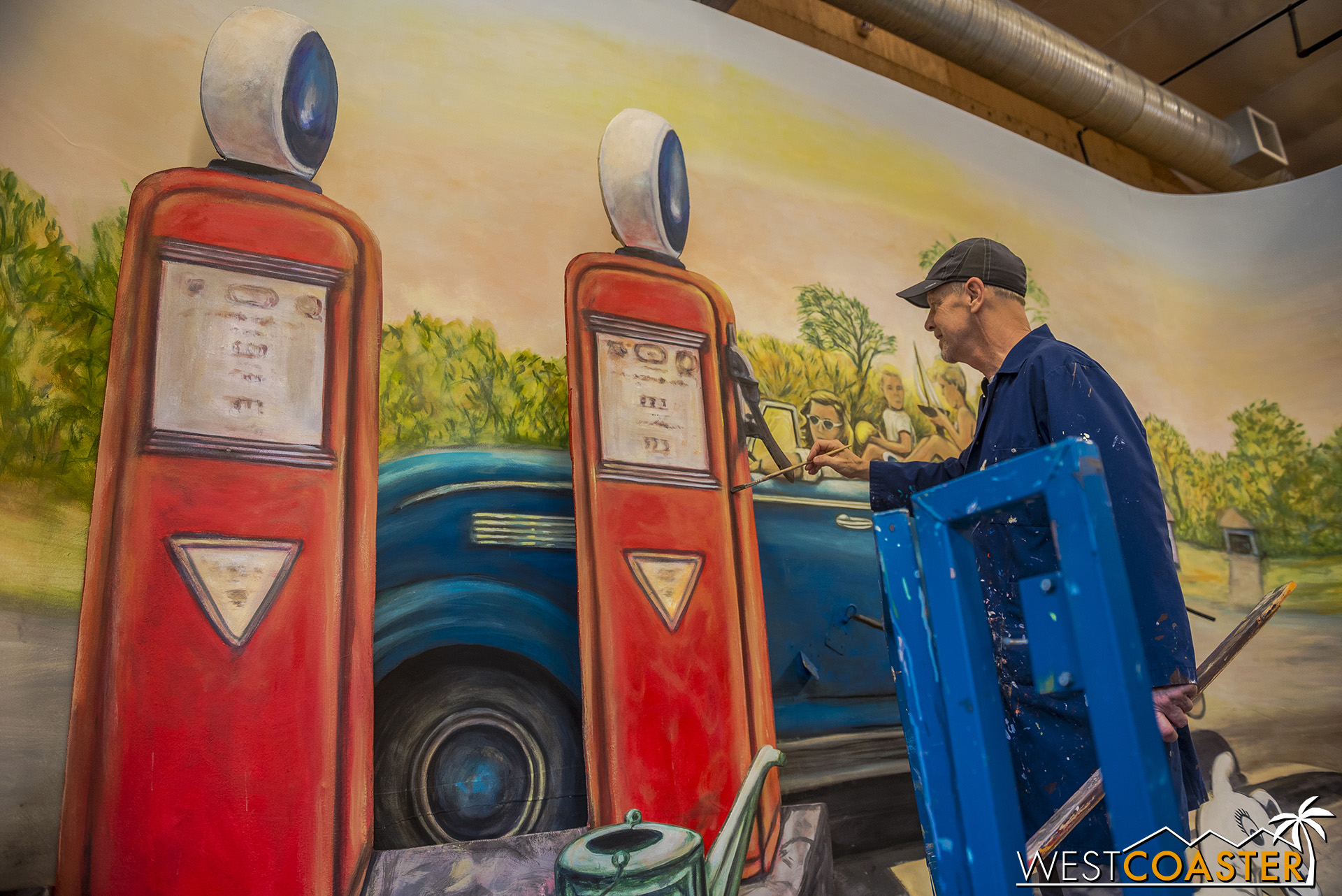 There are some artistic liberties taken.  For example, an extra gas pump is added to lengthen the scene.