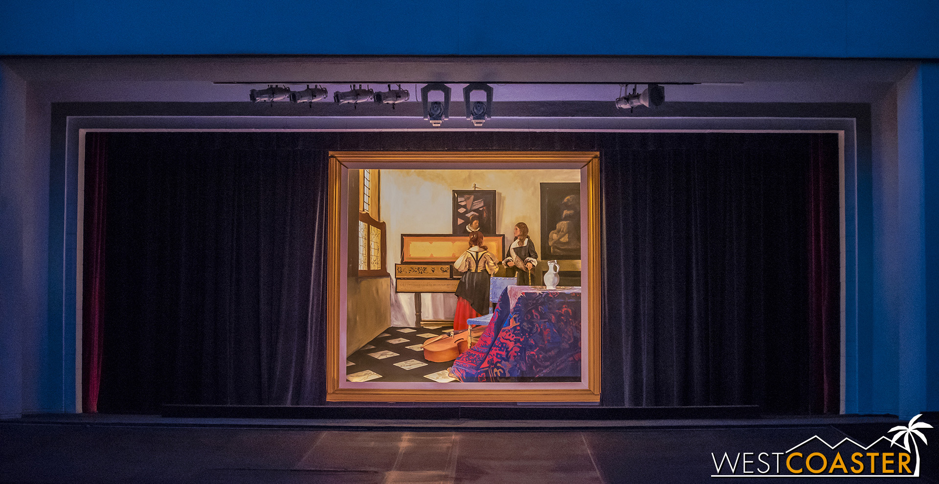 A preview of the Pageant of the Masters.  First scene:  Vermeer's Lens: The Music Lesson , by Johannes Vermeer.