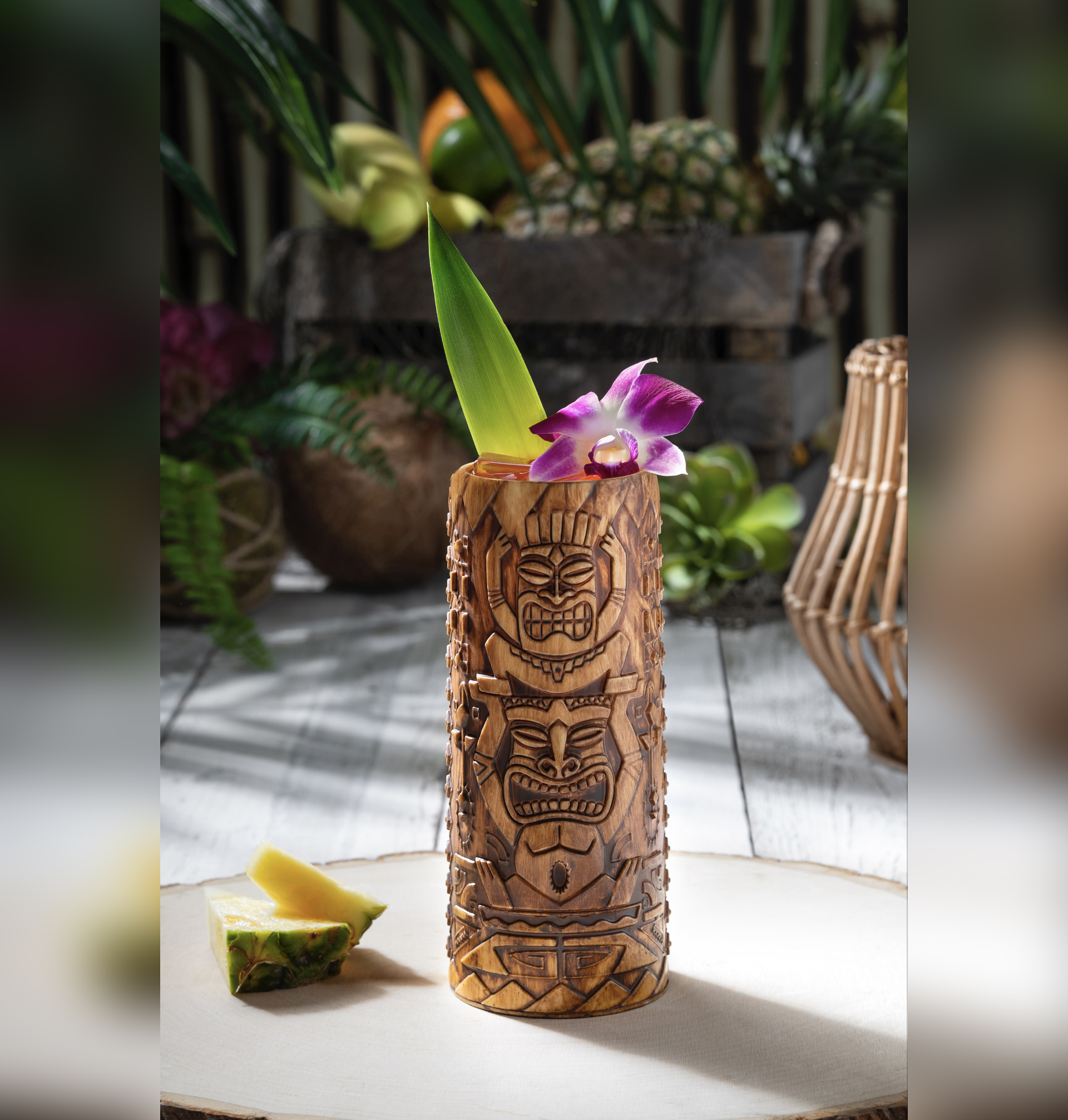 An Etched Tiki Cup from the upcoming Isla Nu-Bar. (Photo courtesy of Universal Studios Hollywood.)