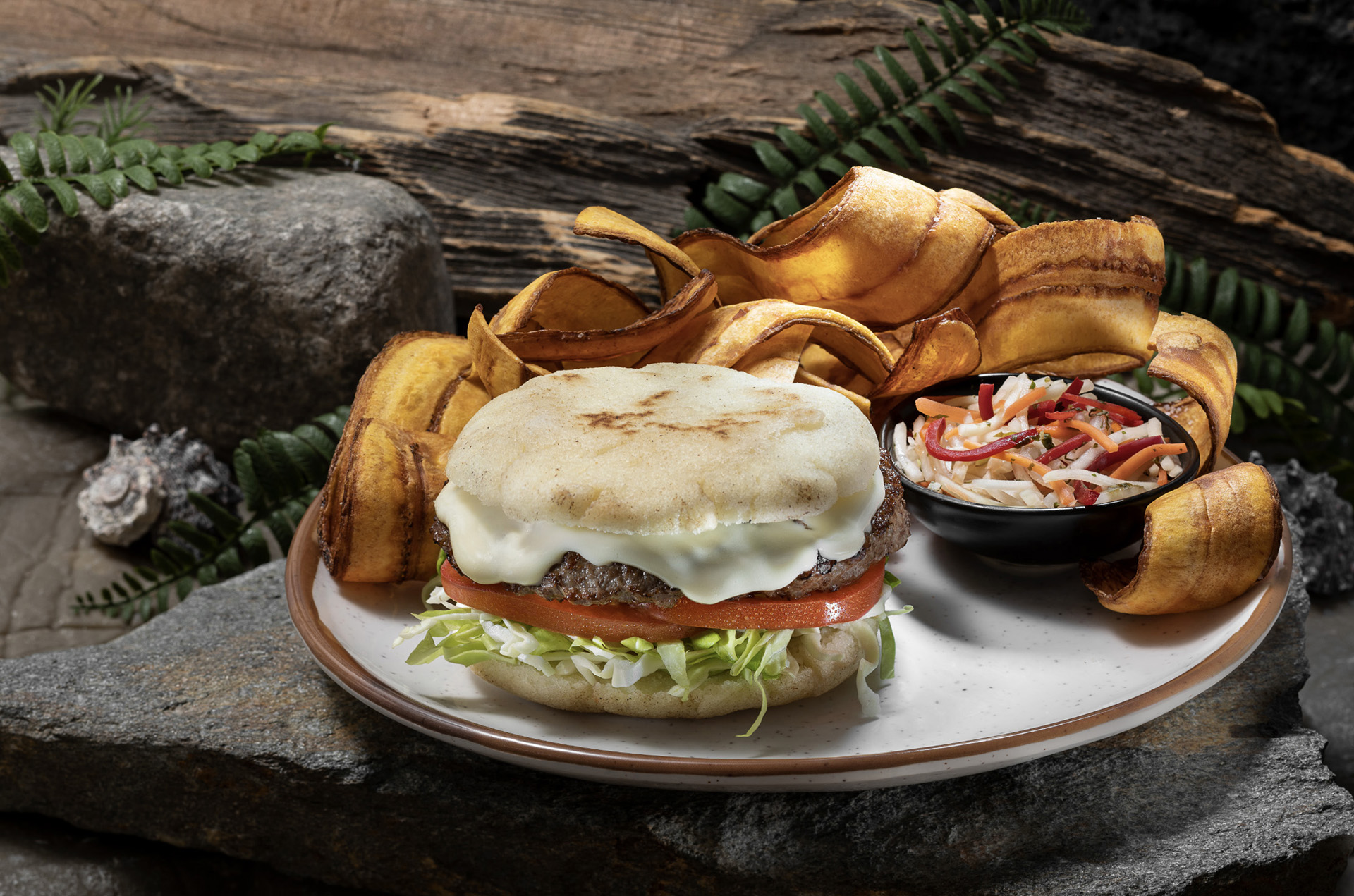 The redone Jurassic Cafe will feature an Isla Burger with slaw. (Photo courtesy of Universal Studios Hollywood.)