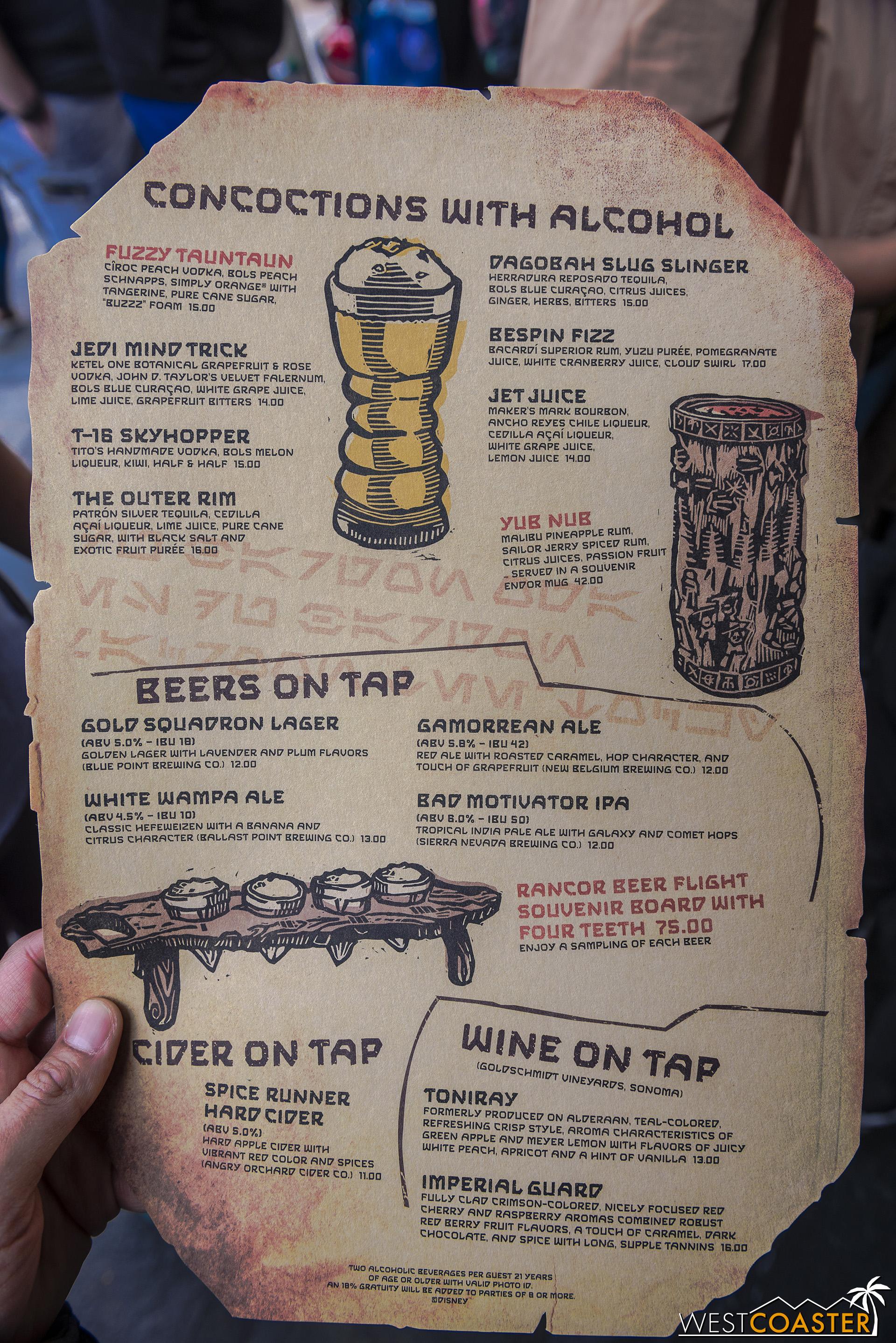 Front of the regular menu.