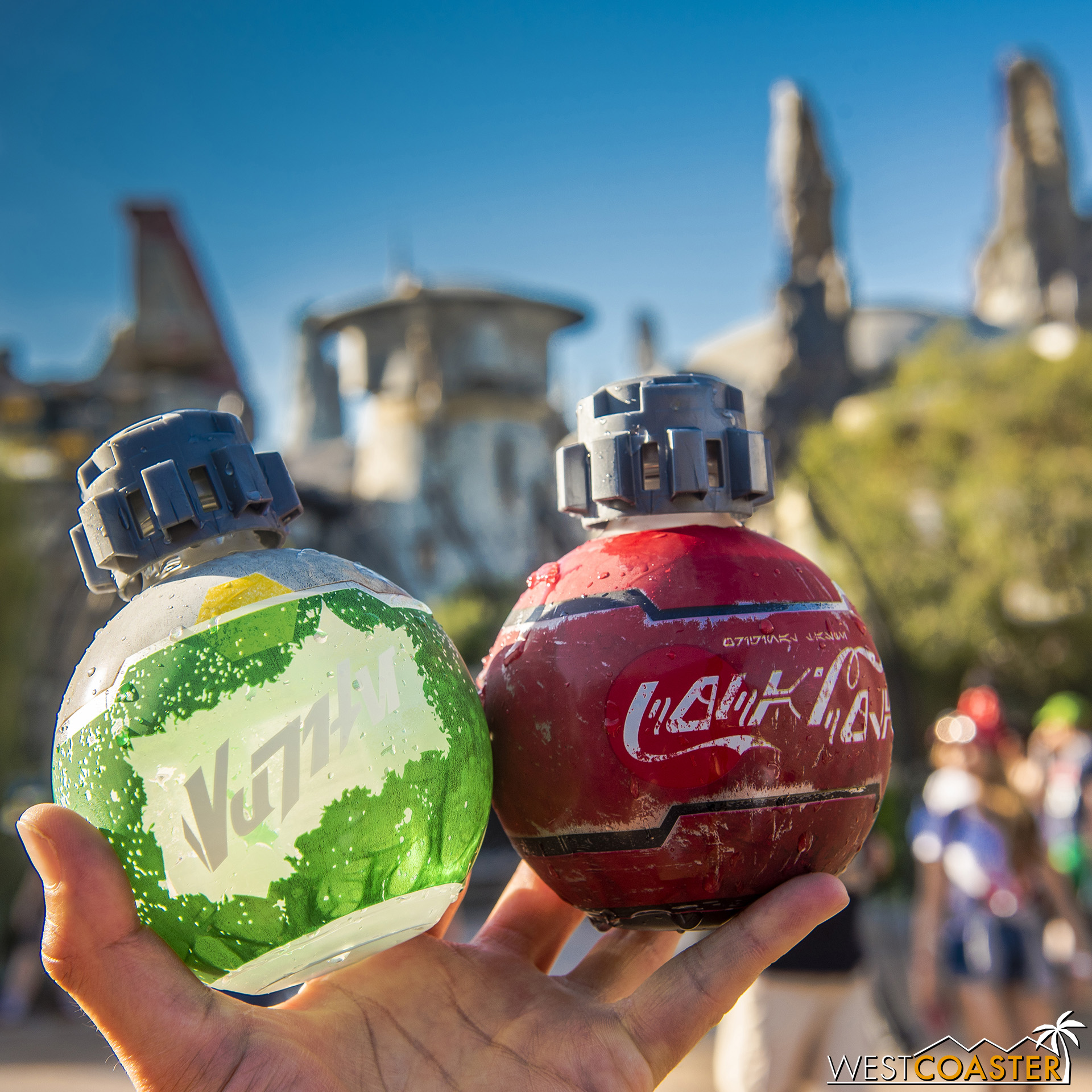 These are basically Disney's middle fingers to Universal's claim that soda bottles don't belong in hyper-themed environments.