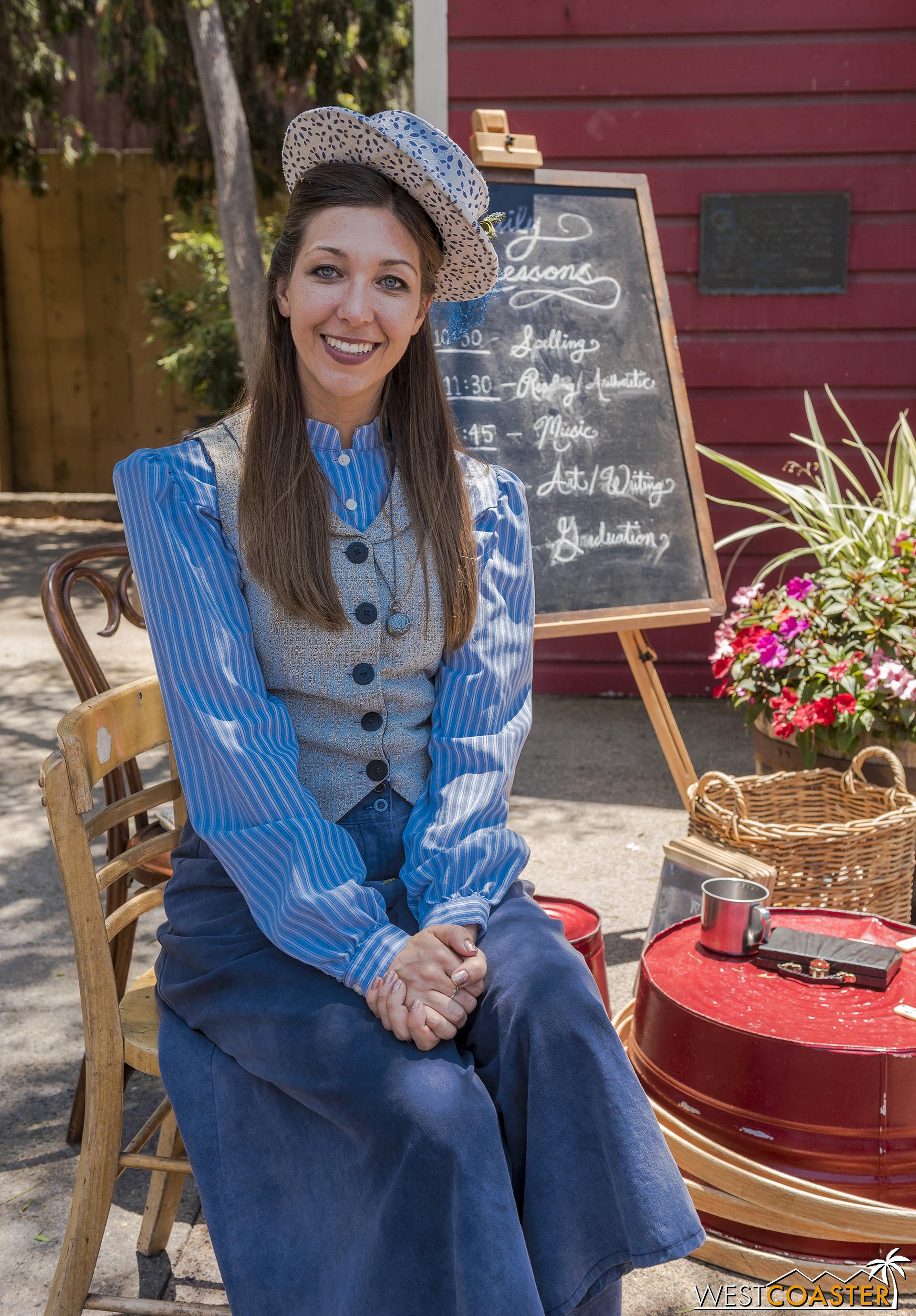 Miss Sierra Mist retains her position as school teacher at the School House.