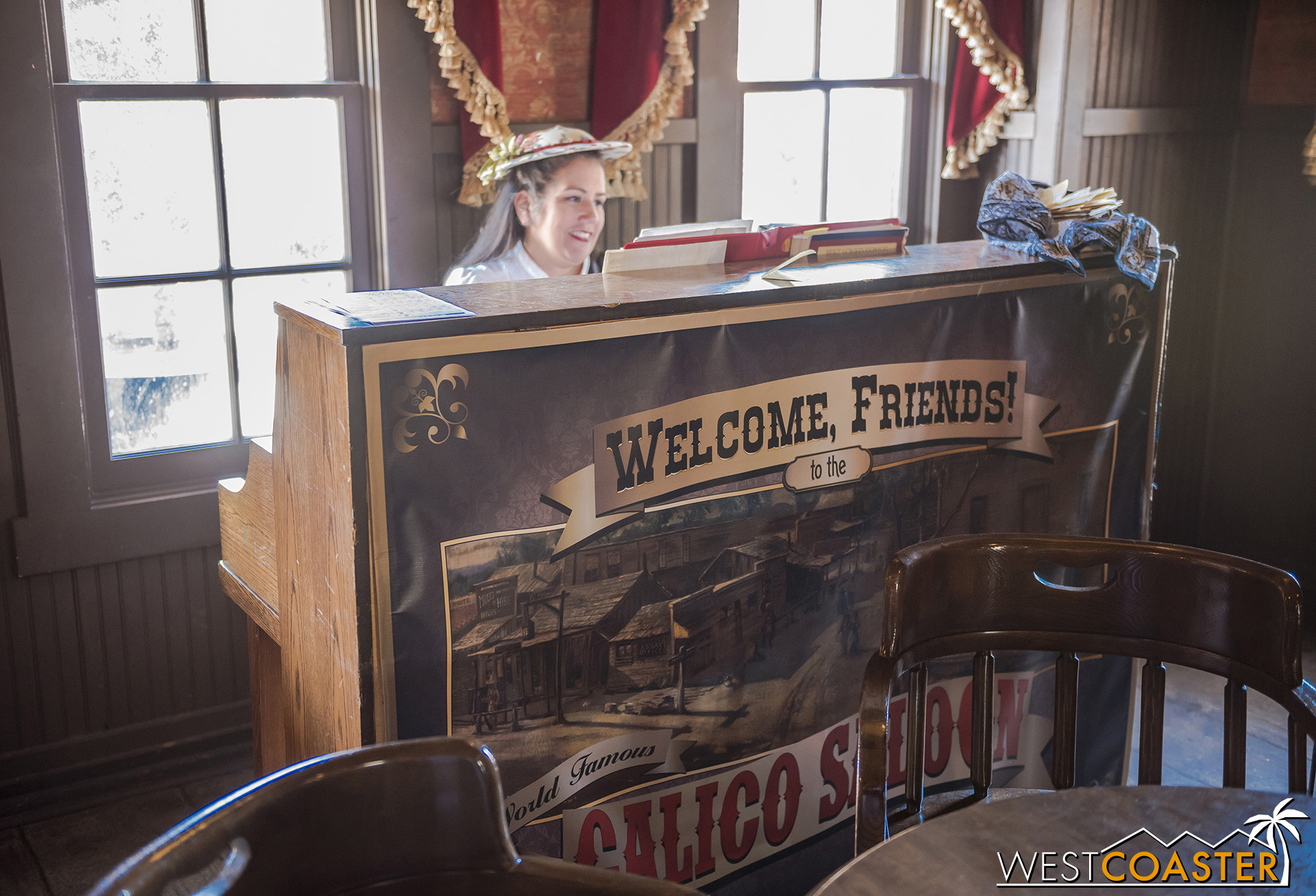 The Calico Saloon isn't hosting shows this summer, but a pianist has taken up residence for entertainment, and the Saloon is still a watering hole for thirsty travelers.