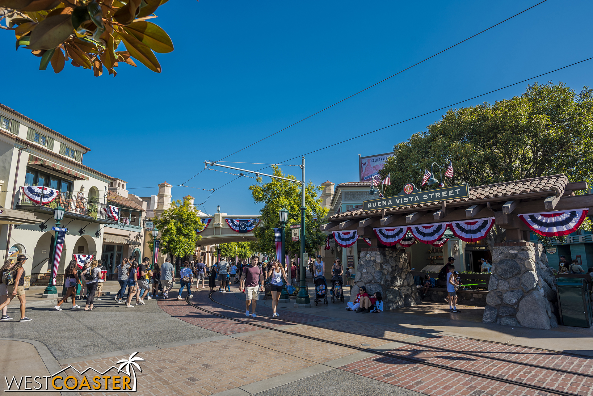 Just wanted to post some more and sunnier photos of Buena Vista Street in its All-American colors.  Also, the Red Car Trolley is currently closed for refurbishment.