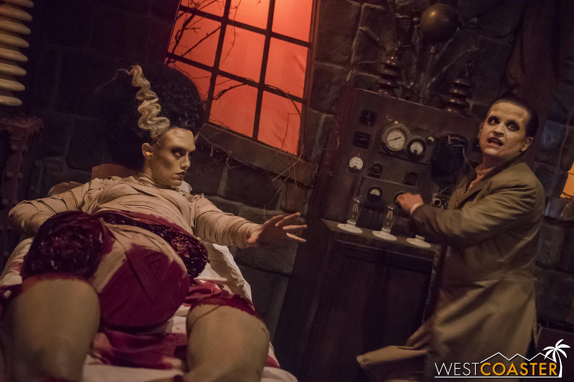 Doctor Frankenstein assembles a Bride for his monster.