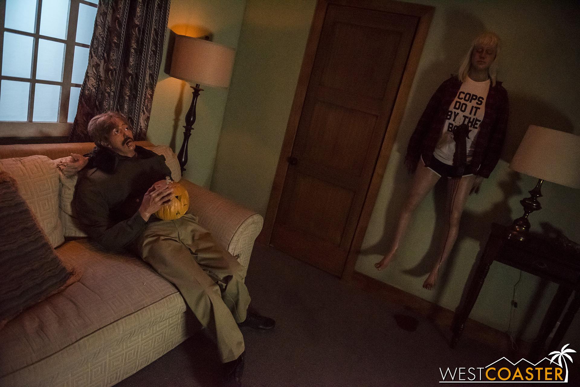 Mannequins serve as distractions for the scareactor bursting out of the door.
