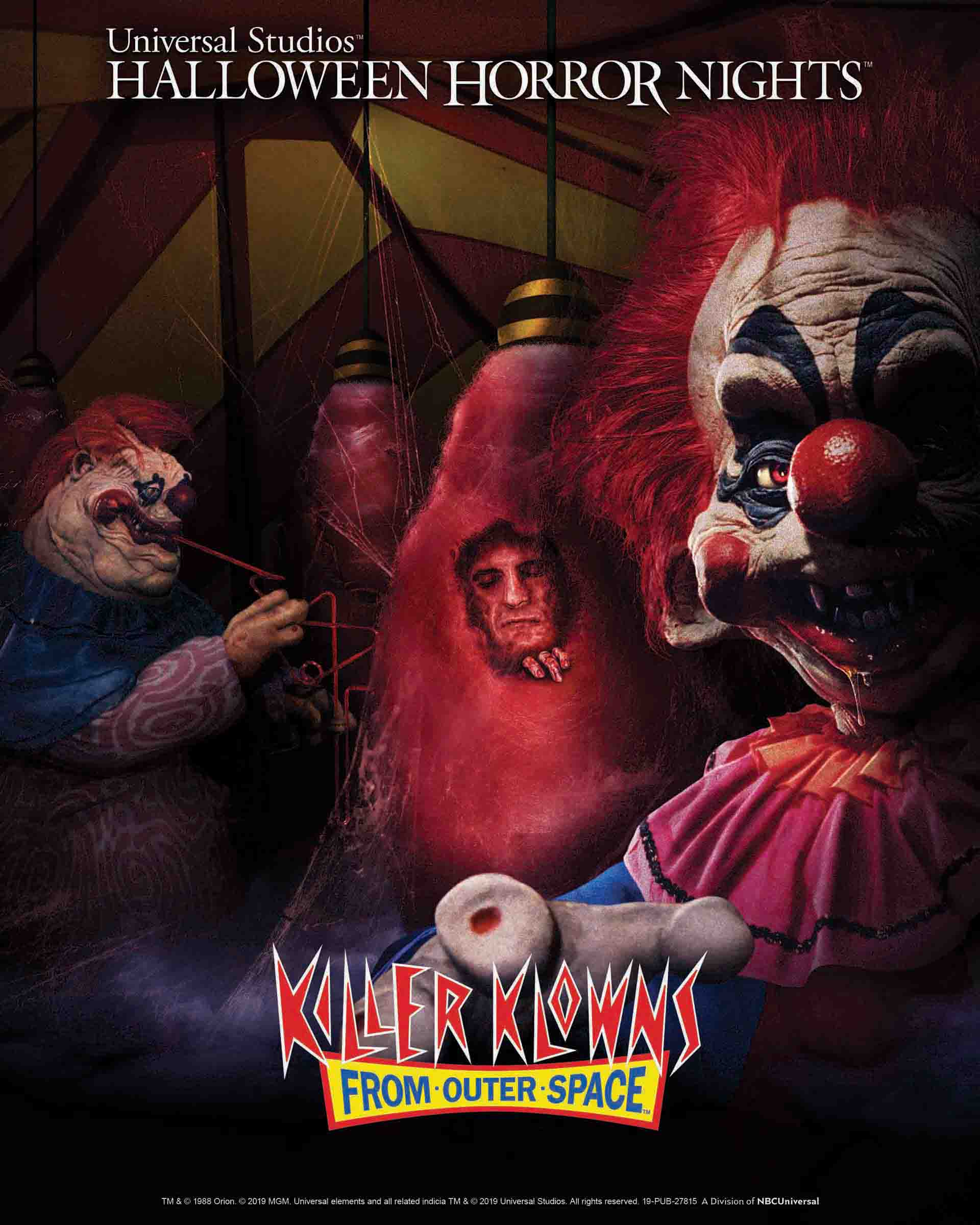 """Just announced yesterday and coming to Horror Nights  this  year… bring in the Klowns!   Universal City, CA & Orlando, FL.  – Metro Goldwyn Mayer's (MGM) """"Killer Klowns from Outer Space"""" lands at this year's """"Halloween Horror Nights"""" in all-new chilling mazes at  Universal Studios Hollywood  and  Universal Orlando Resort  – bringing together the most twisted scenes and ghastly gags from the popular horror sci-fi film at the nation's premier Halloween events.  Based on the cult 1980s film favorite, the """"Killer Klowns from Outer Space"""" mazes will transport guests to the sleepy small town of Crescent Cove, taken over by a pack of murderous clown-like creatures. Guests will be lured by the sweet smell of cotton candy and ice-cream and find themselves in an otherworldly circus tent where they'll come face-to-face with the crazed klowns and their sinister, side-splitting antics. As they make their way through the Big Top Space Ship, guests will witness diabolical klowns making cotton candy cocoons from unsuspecting victims and will realize the joke's on them as they are next to become the gooey snack. From one shrieking klown to the next, the mazes will lead guests through the doomed community of Crescent Cove to an eerie amusement park closed for the season. Trapped in a terrifying funhouse full of killer klowns, guests will be left screaming as there's no stopping this twisted three-ring circus."""