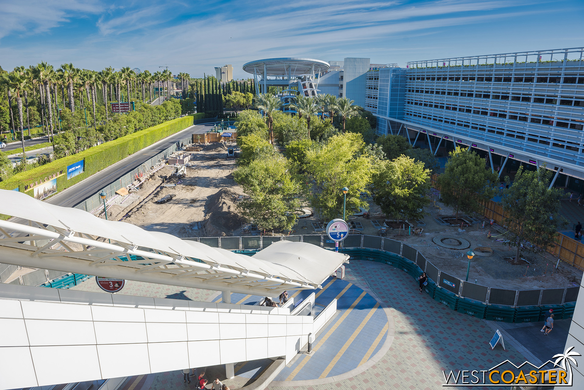 The promenade remains walled off as landscaping is returned to this area, and new paving is put back.