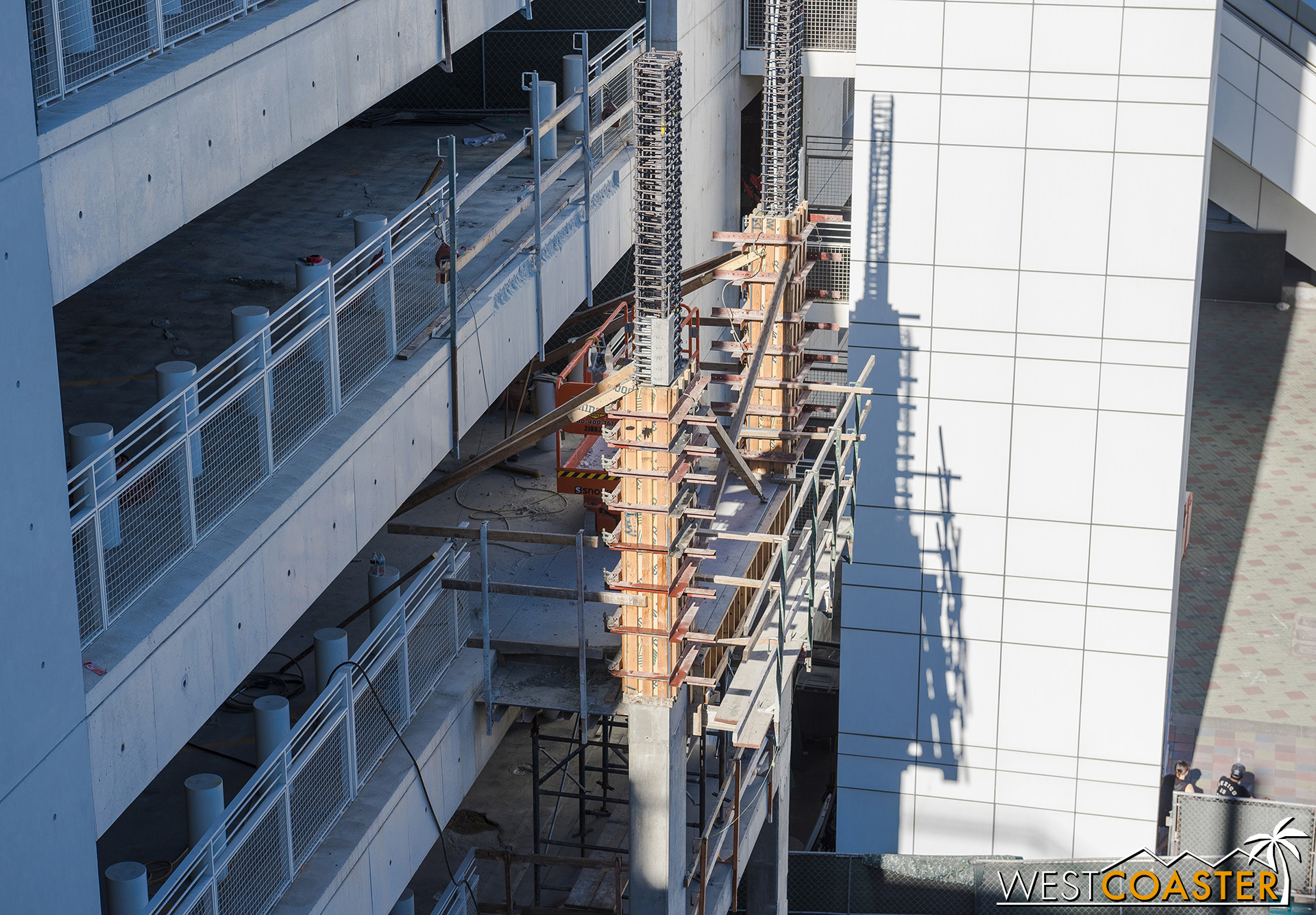 They're put to the third floor with a pair of new columns.