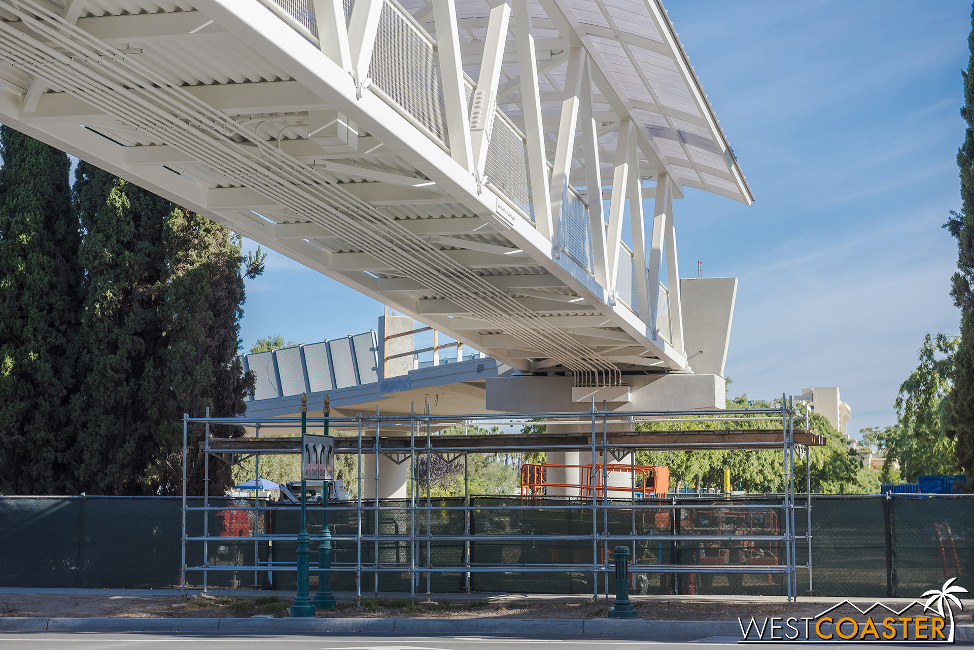 But we can see glimpses of new railing on the ramp down on the opposite side.