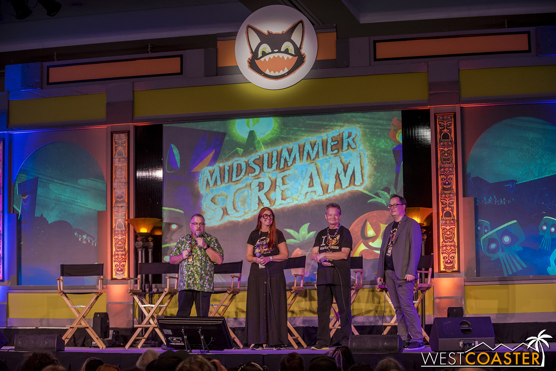The core team behind Midsummer Scream addresses the audience before the first main stage panel.