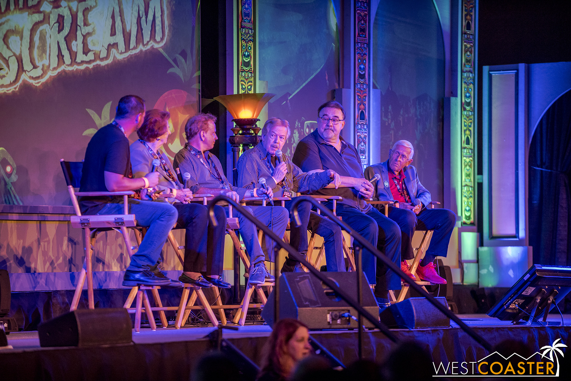 The Haunted Mansion 50th Anniversary Panel, with some Disney legends on stage.
