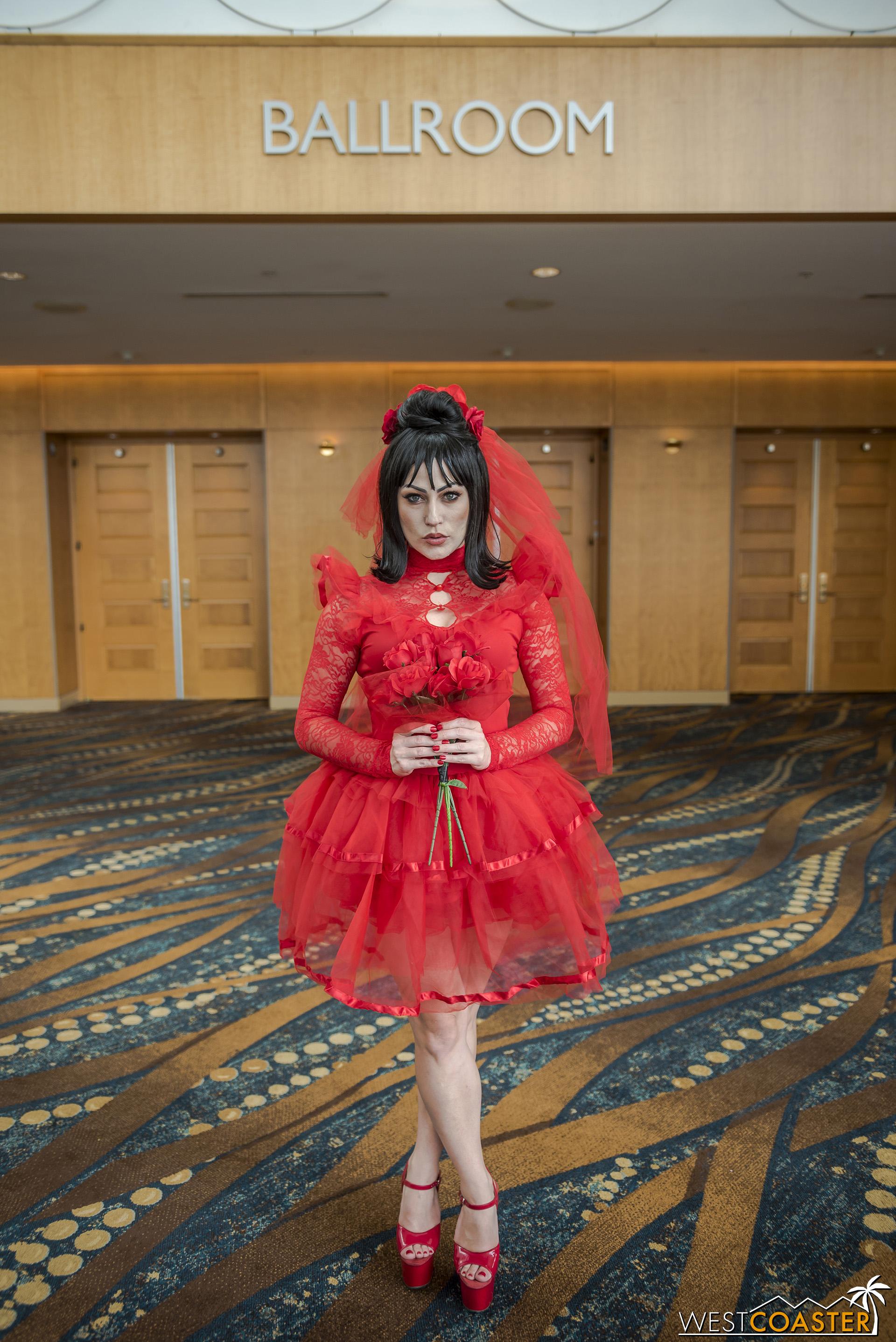 Rachel Hollon   made red look devilishly good at Midsummer Scream.
