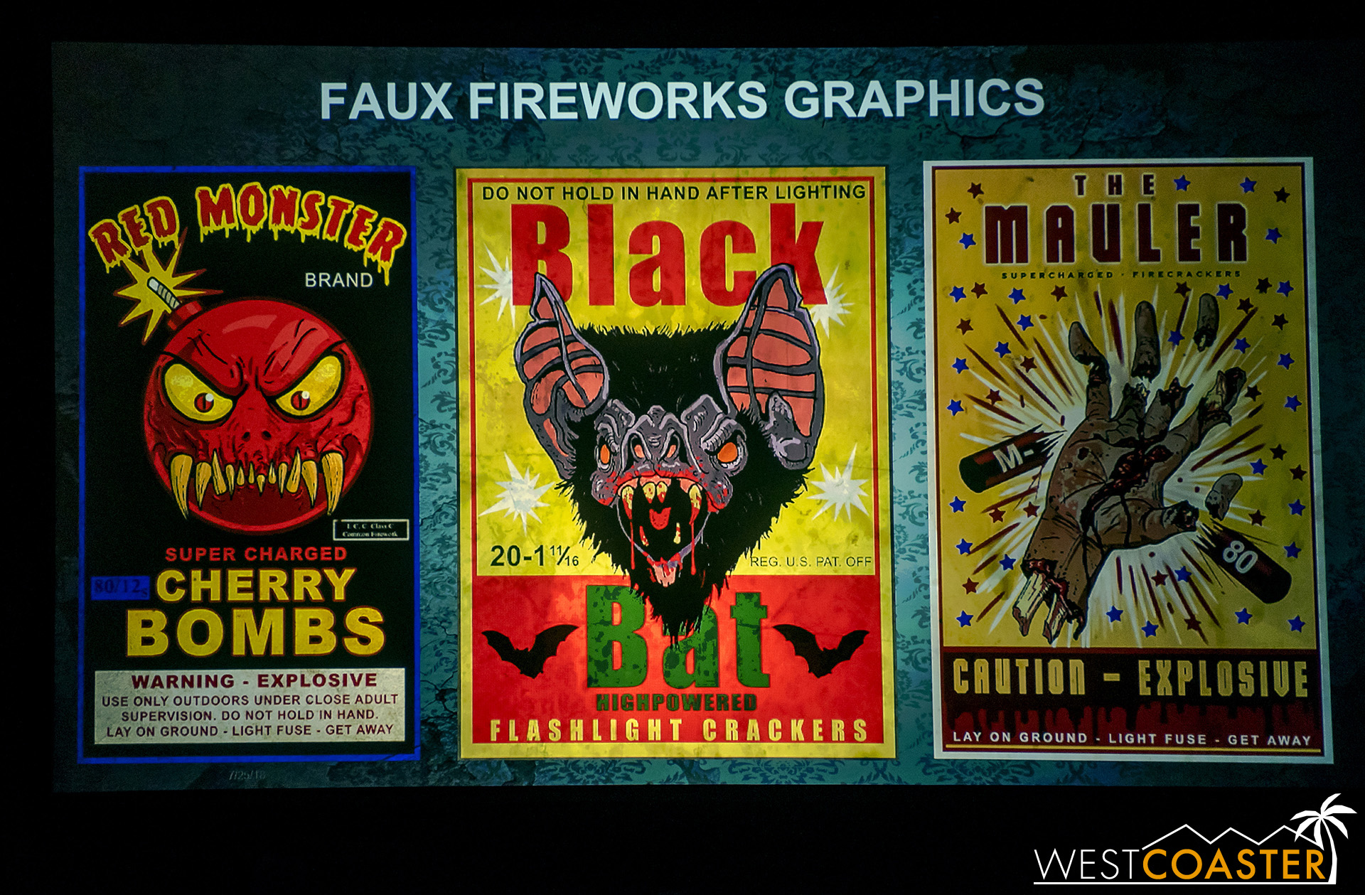 Some of the great fake graphics that the Universal graphics department generates for Horror Nights theming. These are fake fireworks boxes for the 4th of July portion of the Holidayz in Hell maze.
