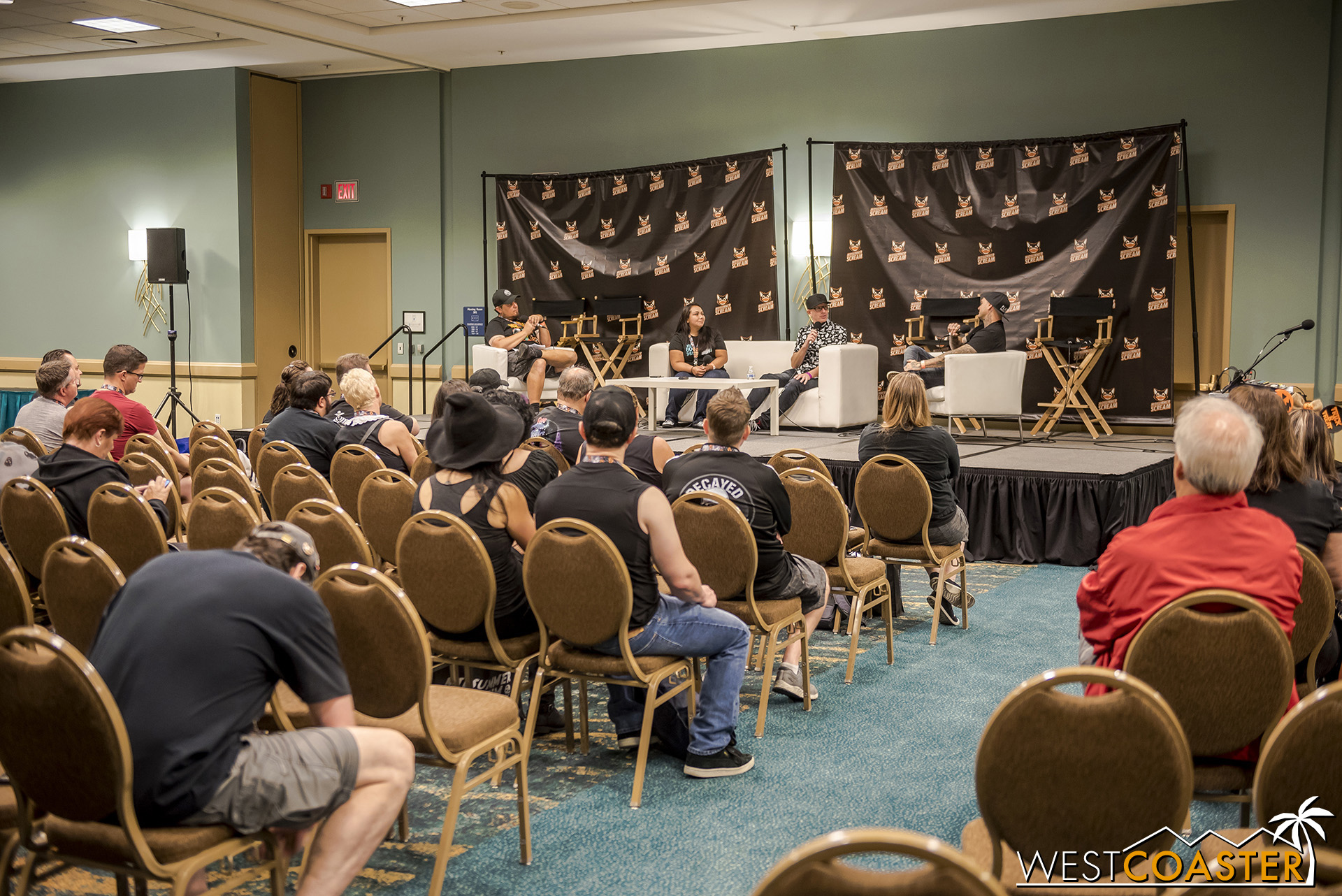 The Podcast Room attracted a small but interested crowd for the discussion.