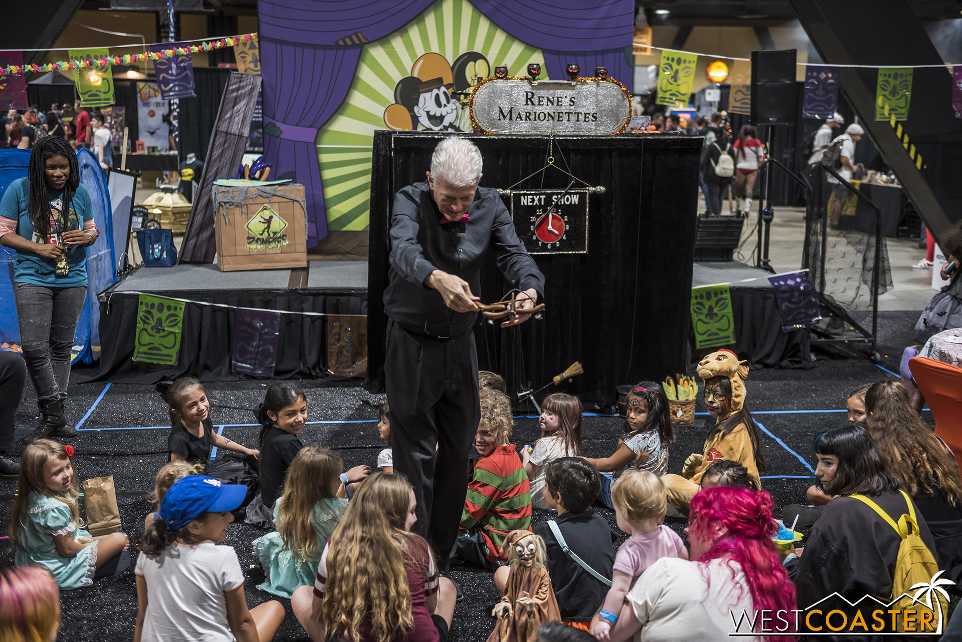 Joe Selph does a charming-scary puppet show.