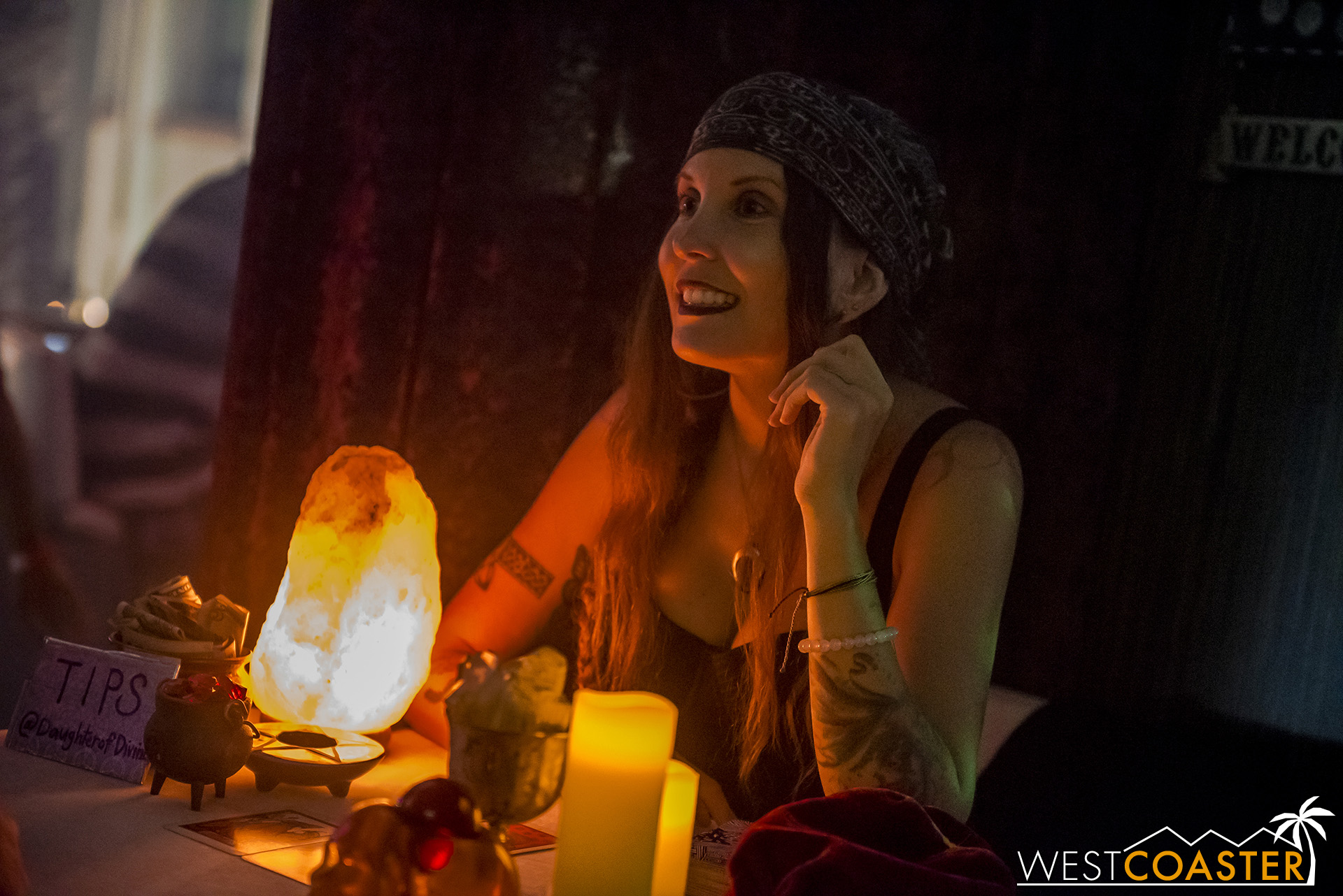 A tarot card reader works at the Spirit Lounge.  There's no upcharge to see her, other than tips.