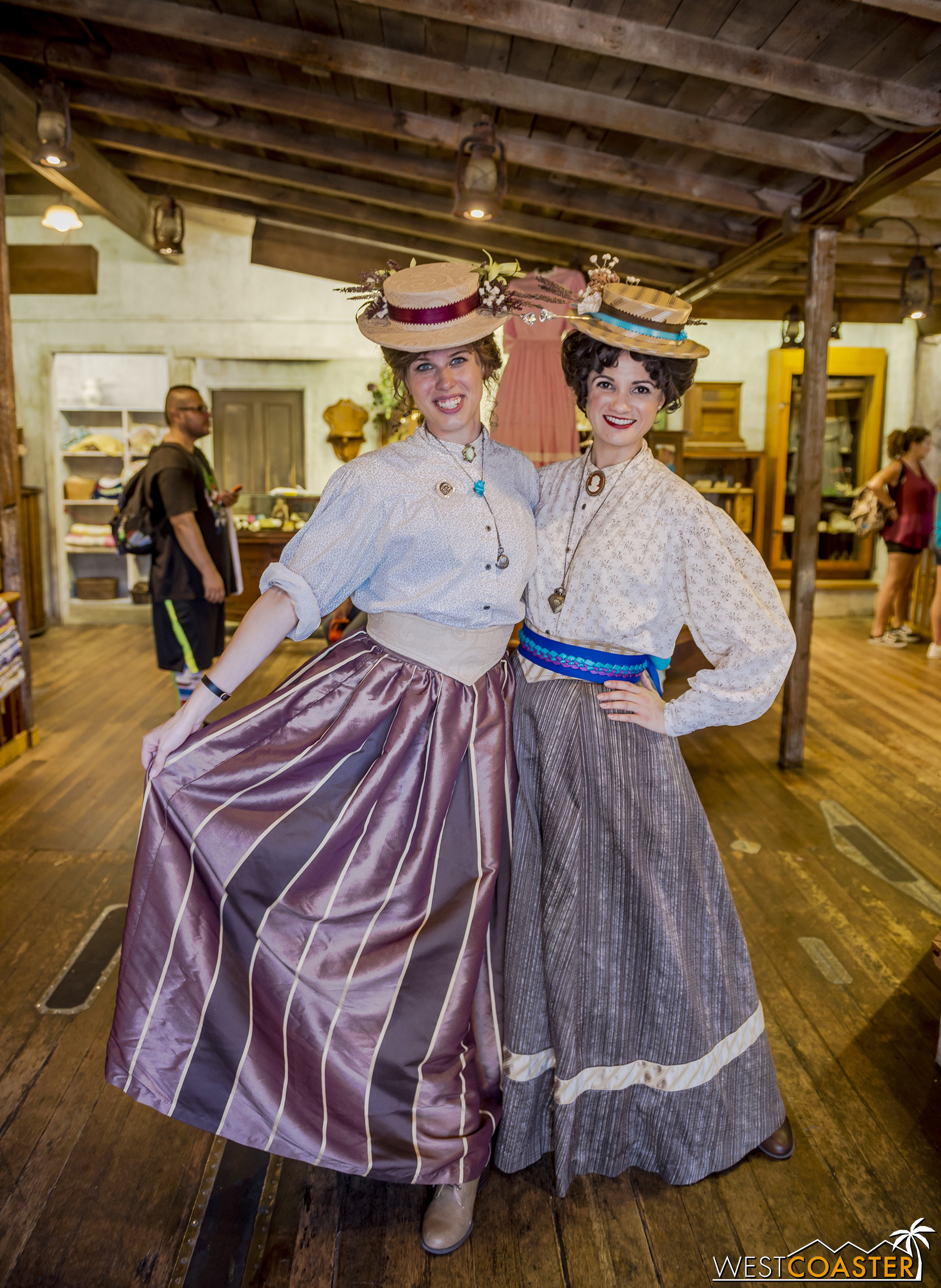 Flora May Fields (left) and Ashley Kendall are both new this season and operate Gertie's Dress Shop.