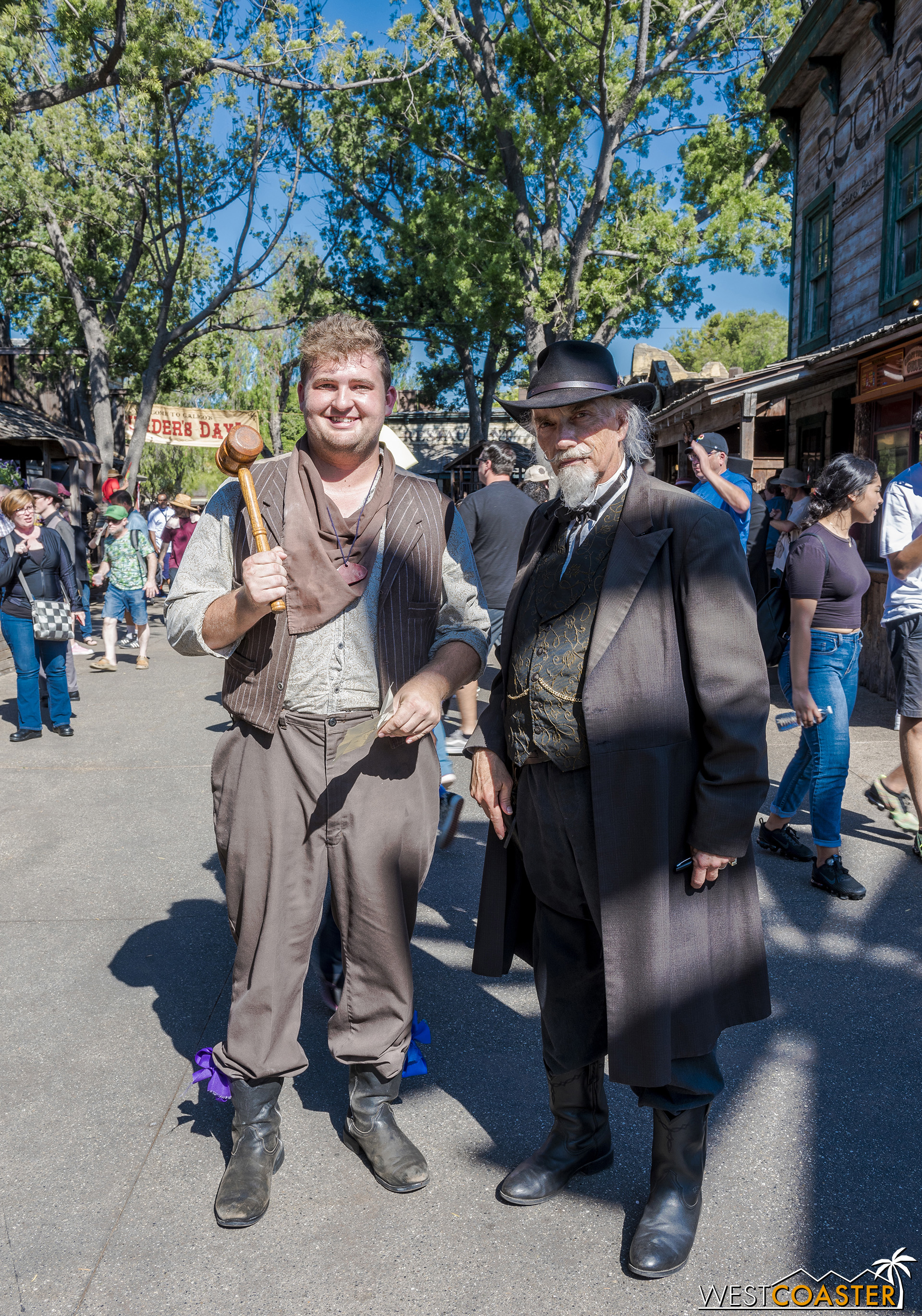 Emery Mund (left) still causes unintentional trouble and confusion.  He's quite a contrast to the gruff, serious, but internally caring Judge Roy Bean.