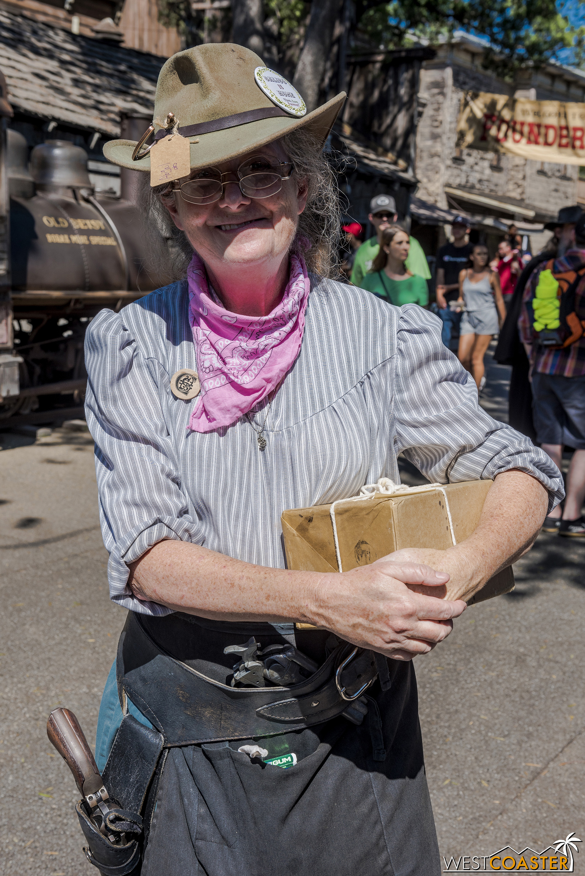 Abigail Dynamite is another roaming veteran, interacting with various other citizens and helping with packages.